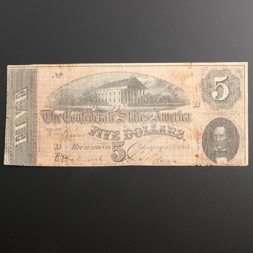 1864 Confederate States of America $5 Currency Note