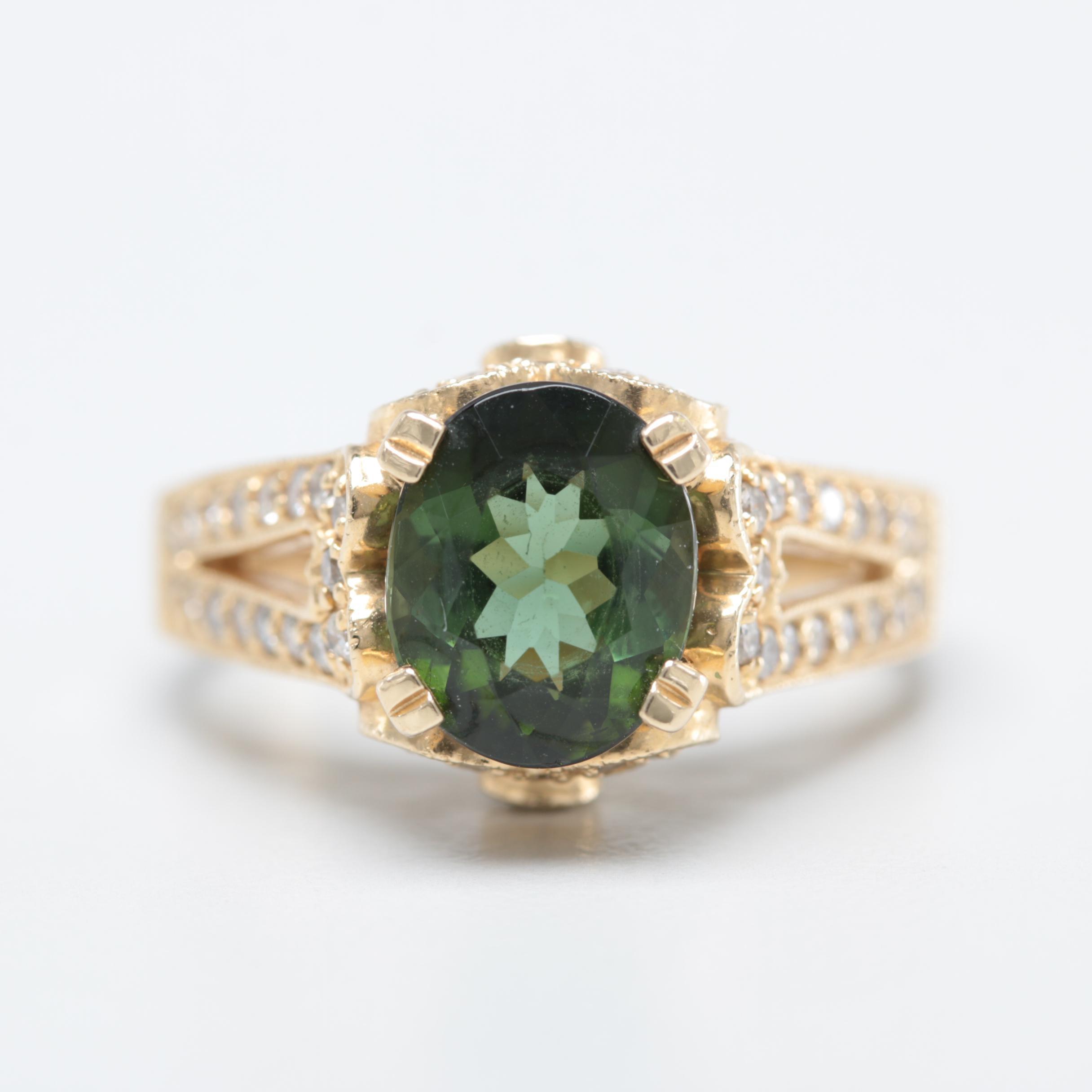 Sonia B. 14K Yellow Gold Green Tourmaline and Diamond Ring