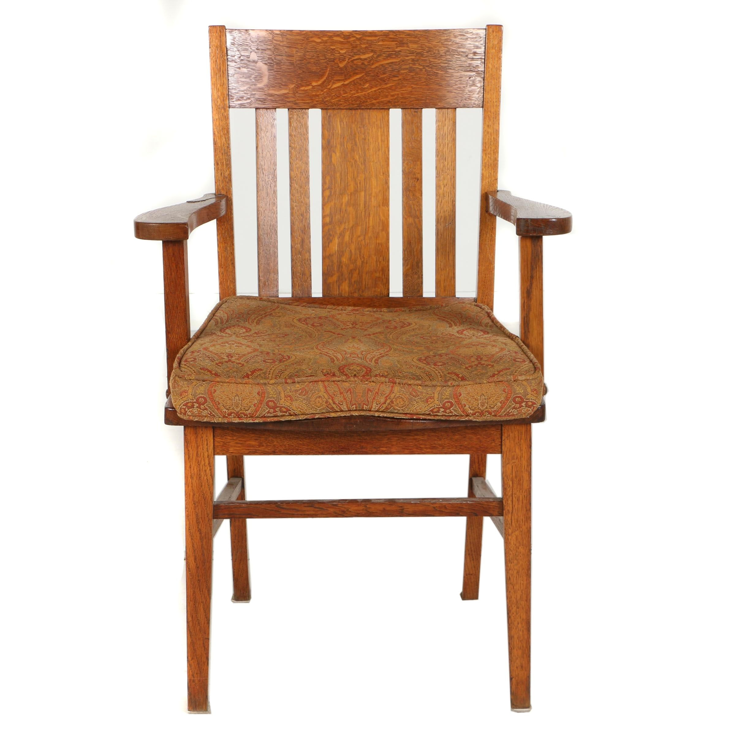 American Oak Open Armchair, Early 20th Century