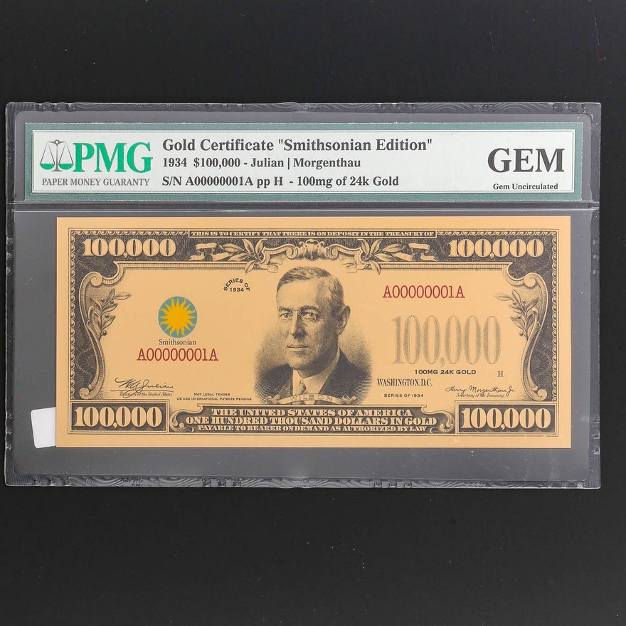 PMG Graded Gem Uncirculated $100,000 Gold Certificate Smithsonian Edition