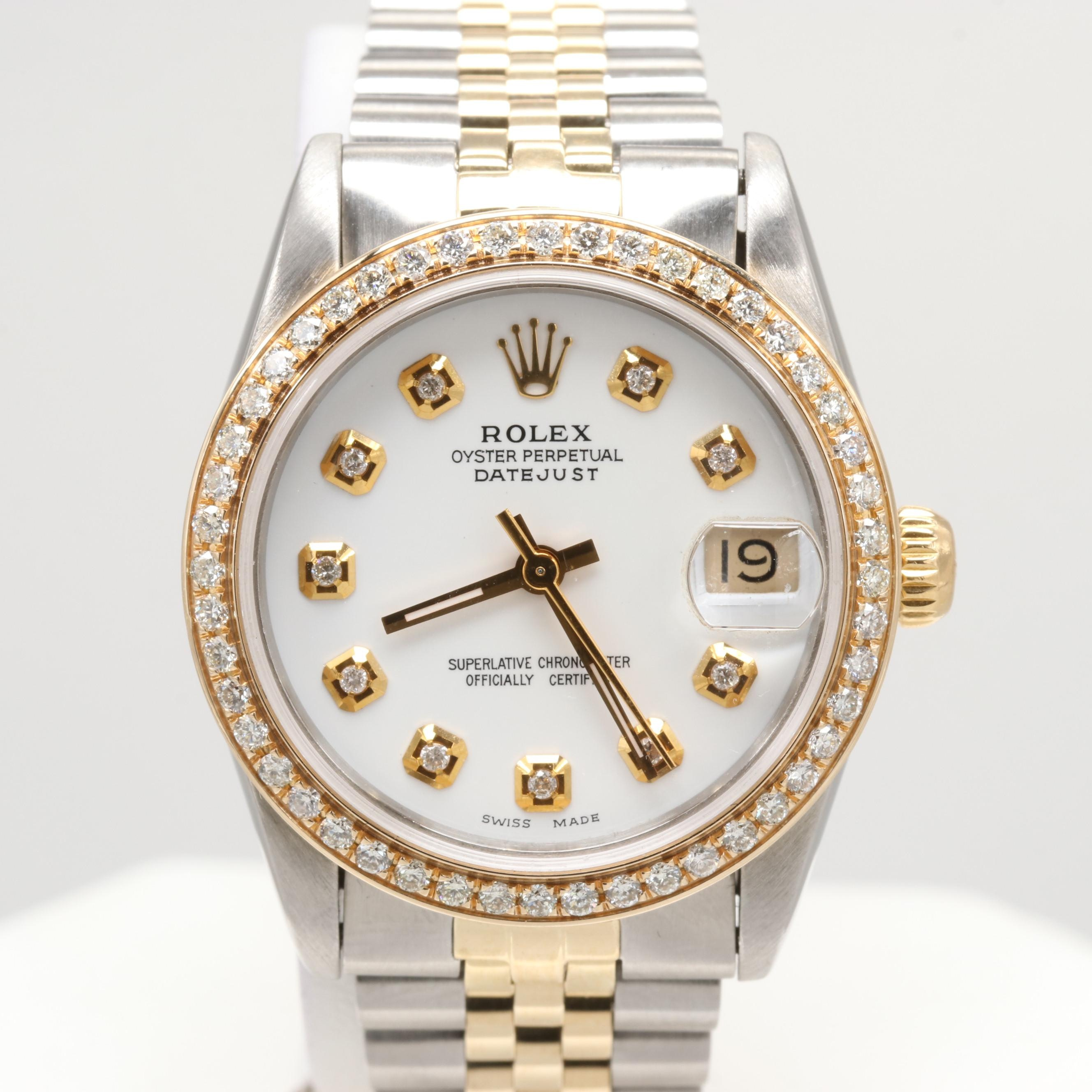 Rolex Datejust 18K Yellow Gold and Stainless Steel Wristwatch With Diamonds,1986