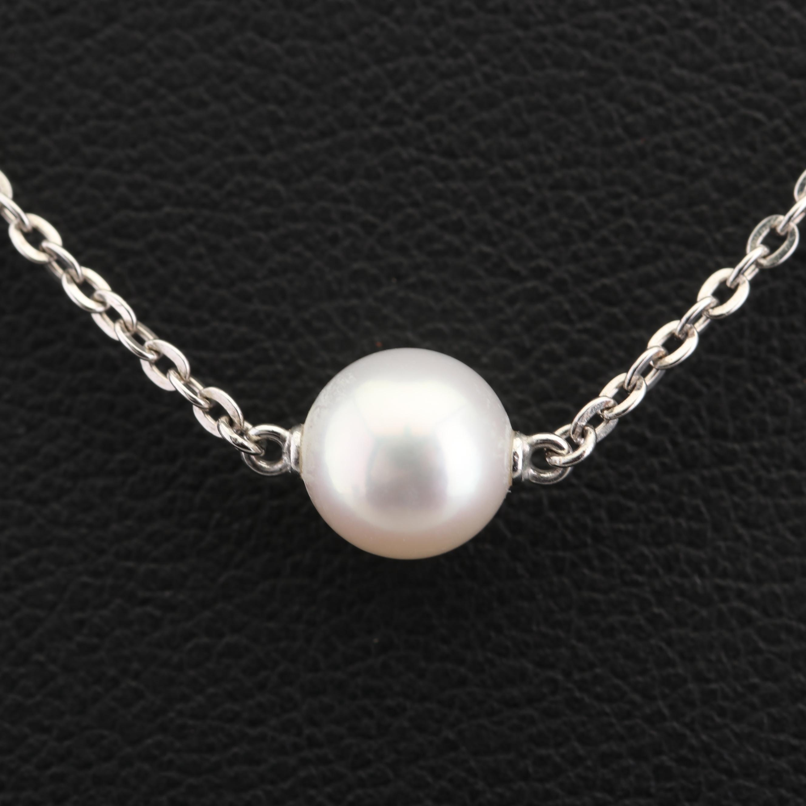 Mikimoto Sterling Silver Cultured Pearl Solitaire Pendant Necklace