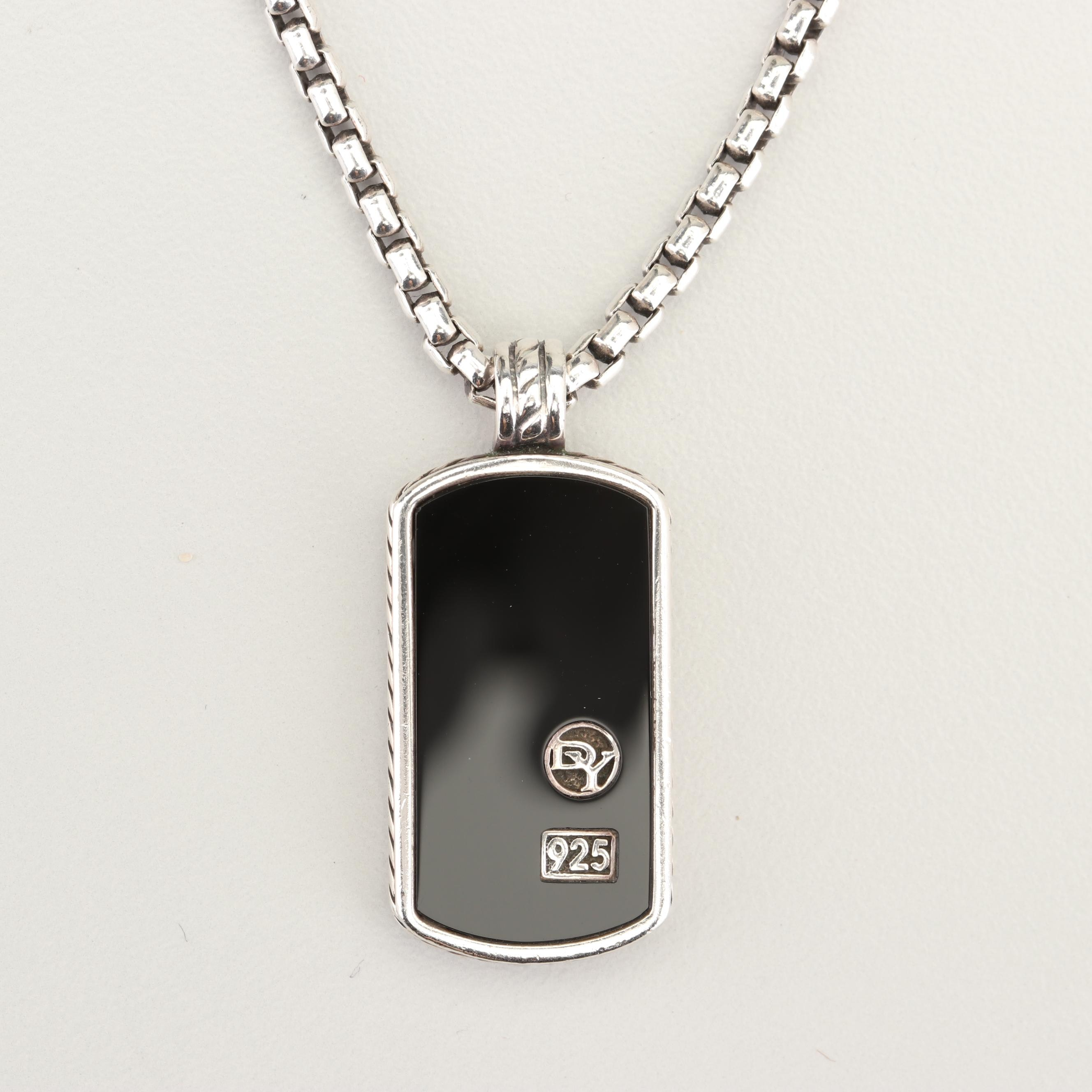 "David Yurman ""Exotic Stone"" Sterling Silver Black Onyx Dog Tag Pendant Necklace"