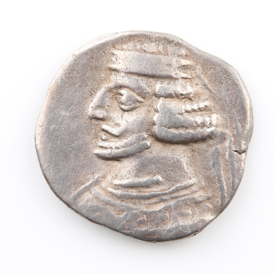 Ancient Parthian Empire AR Drachm of Mithridates III, ca. 57 B.C.