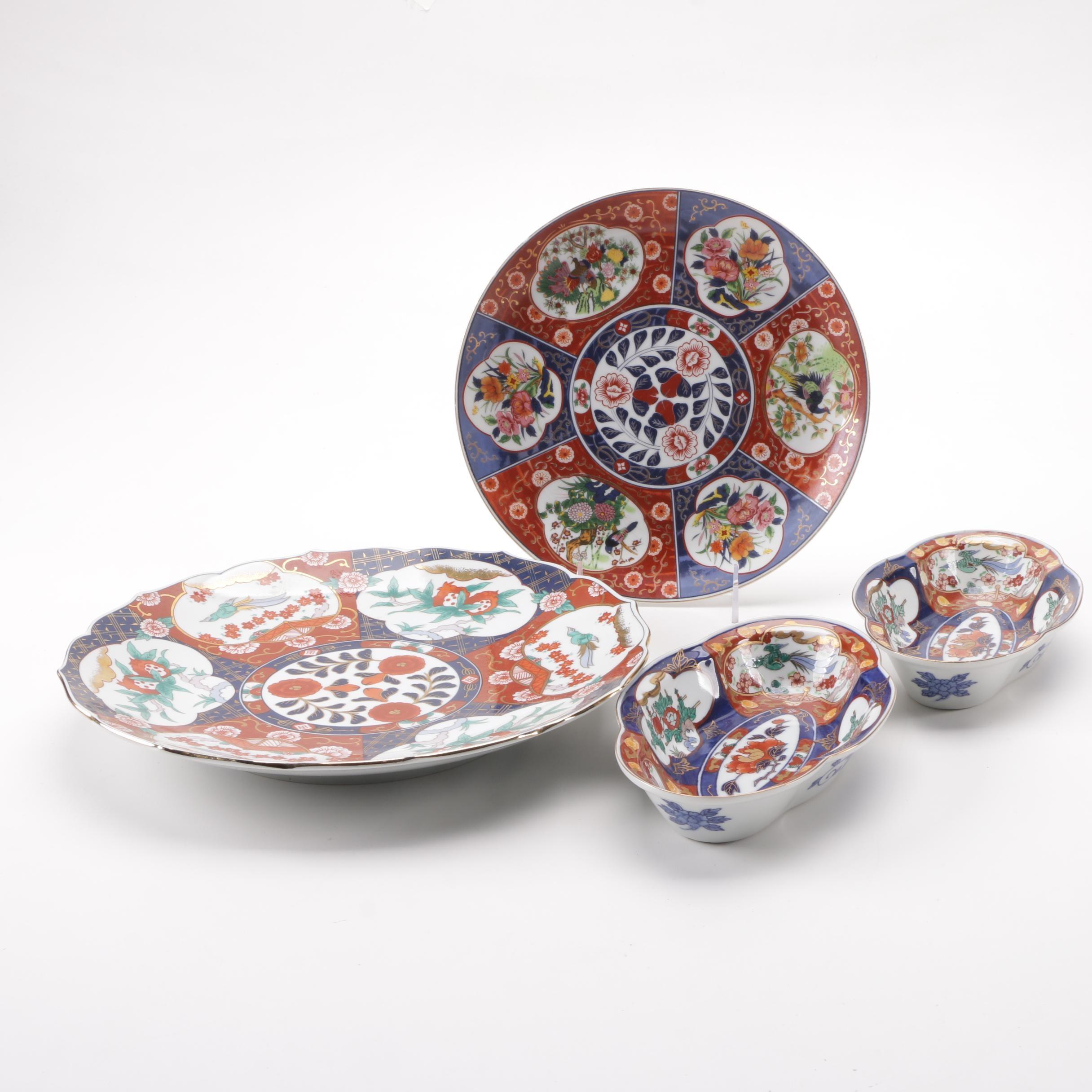 Japanese Imari Bird and Foliate Porcelain Serveware