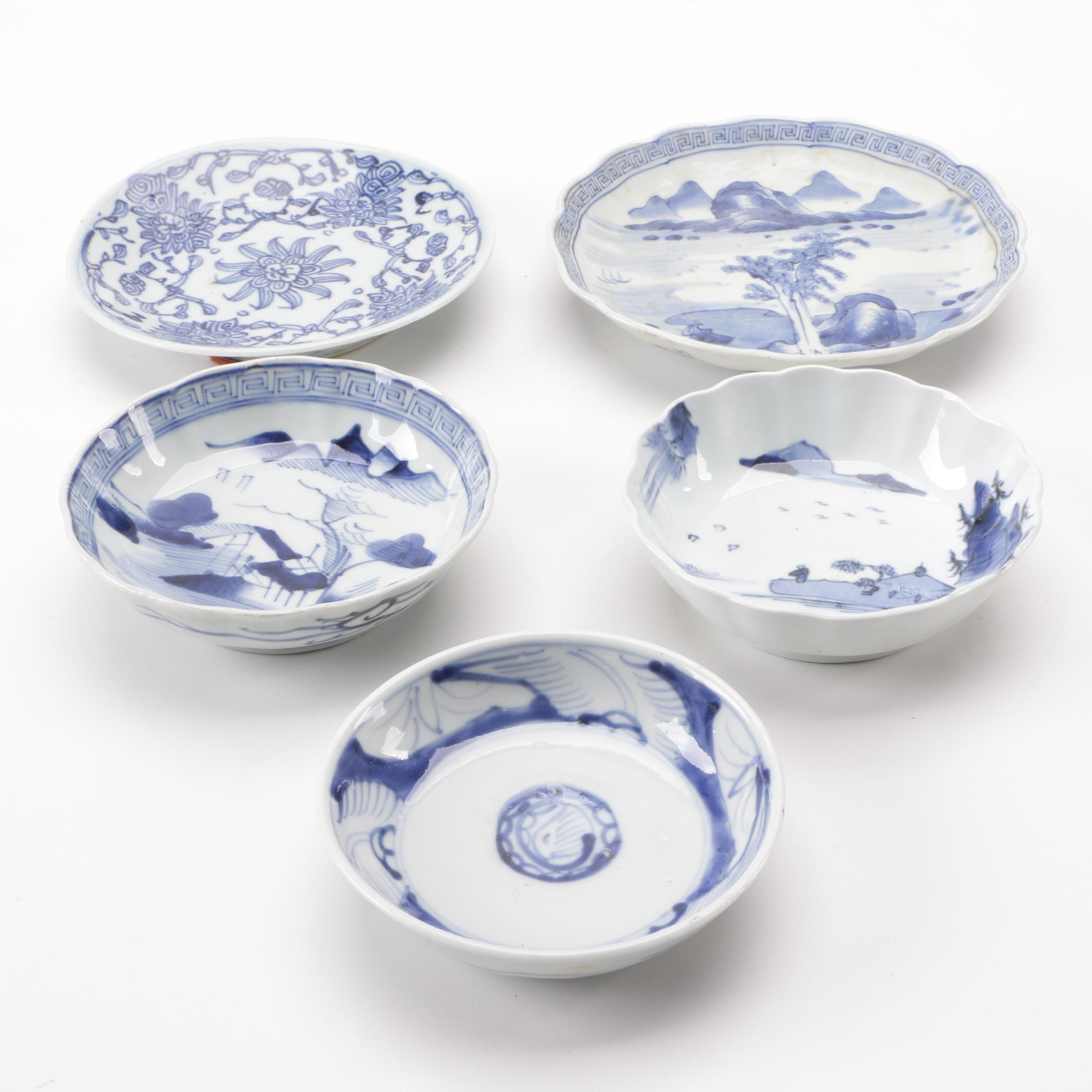 Chinese Blue and White Porcelain Bowls and Dishes