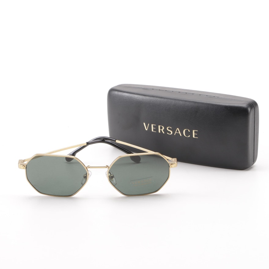 a41446a945 Versace Mod. 2194 Octagon Gold Tone Sunglasses with Case   EBTH