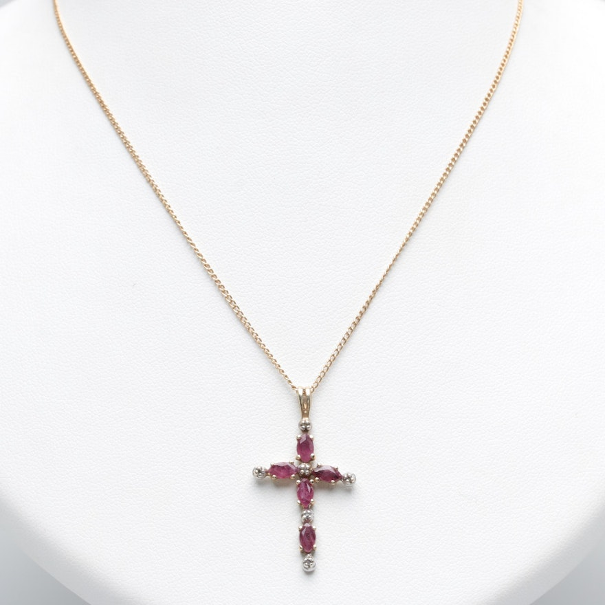 fc9d28749a3d 14K Yellow Gold Ruby and Diamond Cross Pendant Necklace   EBTH