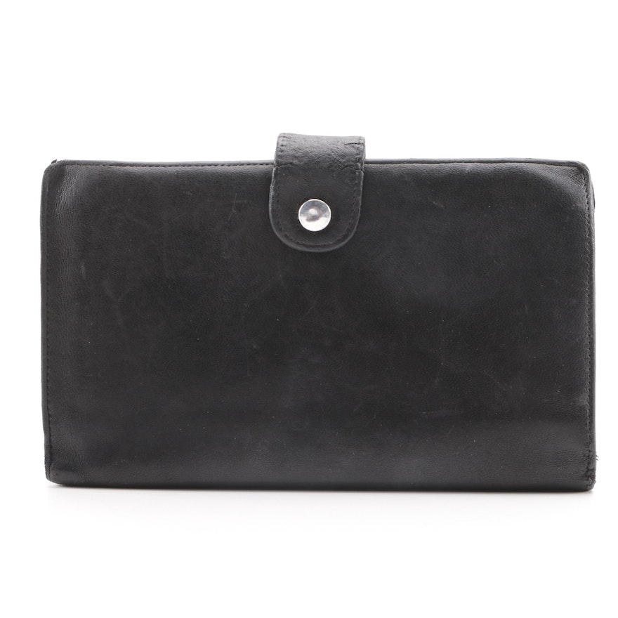 801711ca21e2f7 Circa 1995 Vintage Chanel Black Lambskin Leather Wallet : EBTH