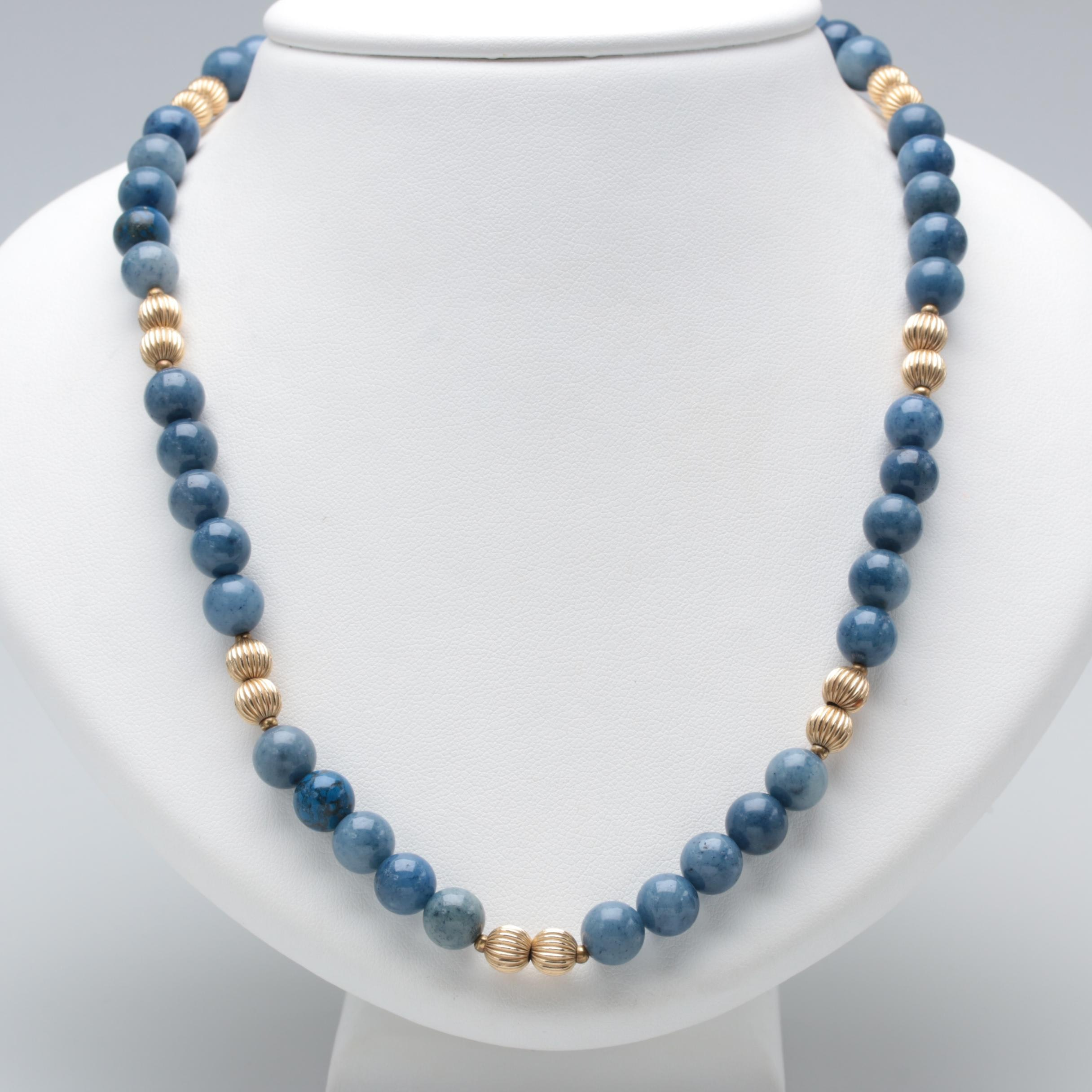 Gold Tone Quartz Necklace with Sterling Silver Clasp