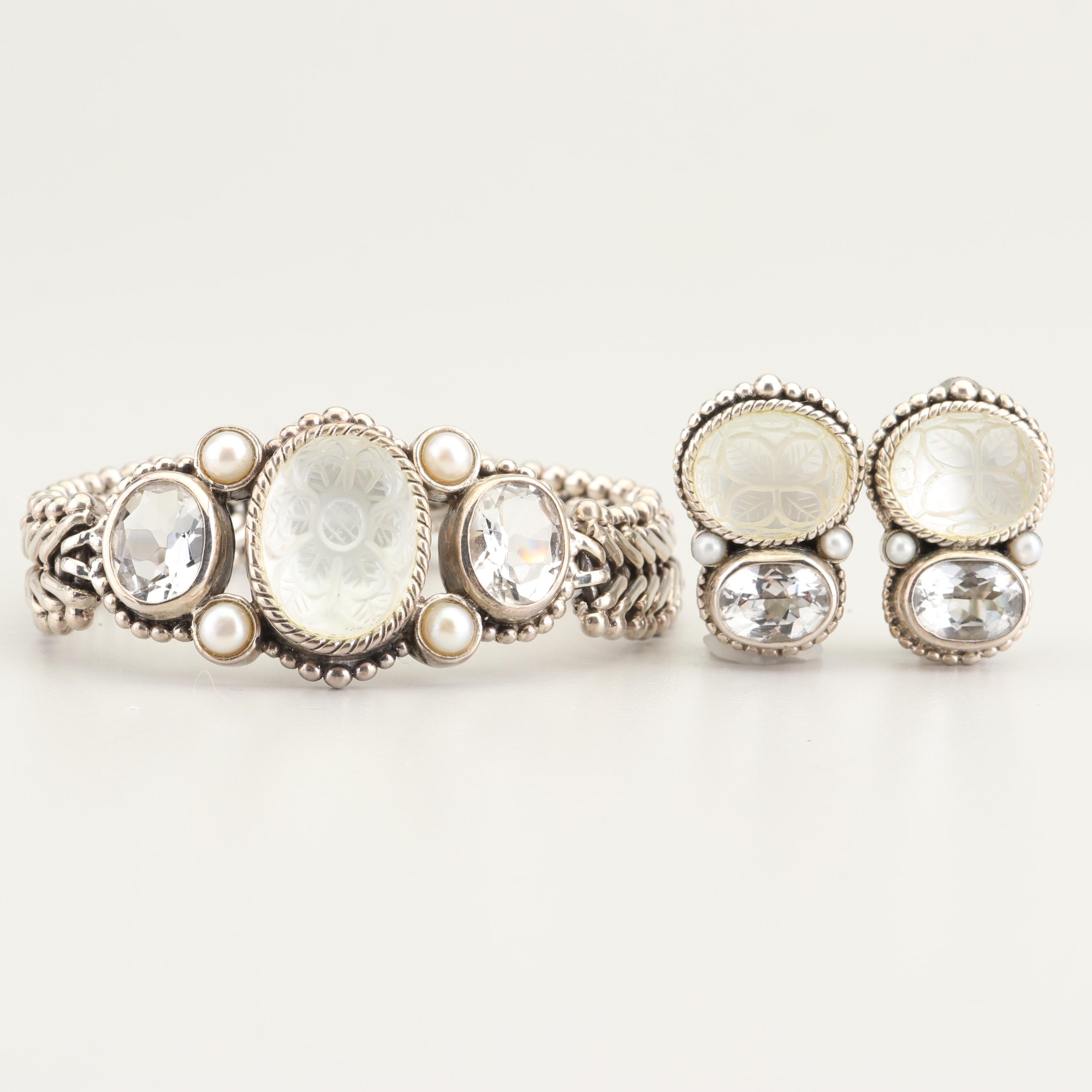 Stephen Dweck Sterling Silver Quartz and Cultured Pearl Bracelet and Earring Set