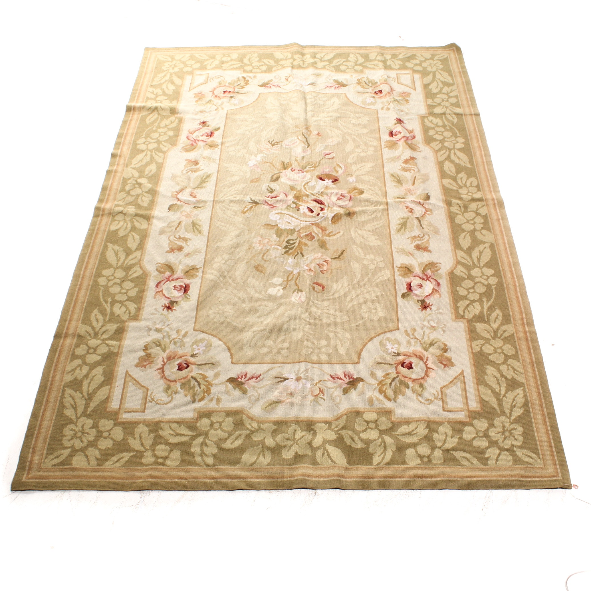 Hand Knotted Indian Aubusson Style Carved Wool Rug Ebth