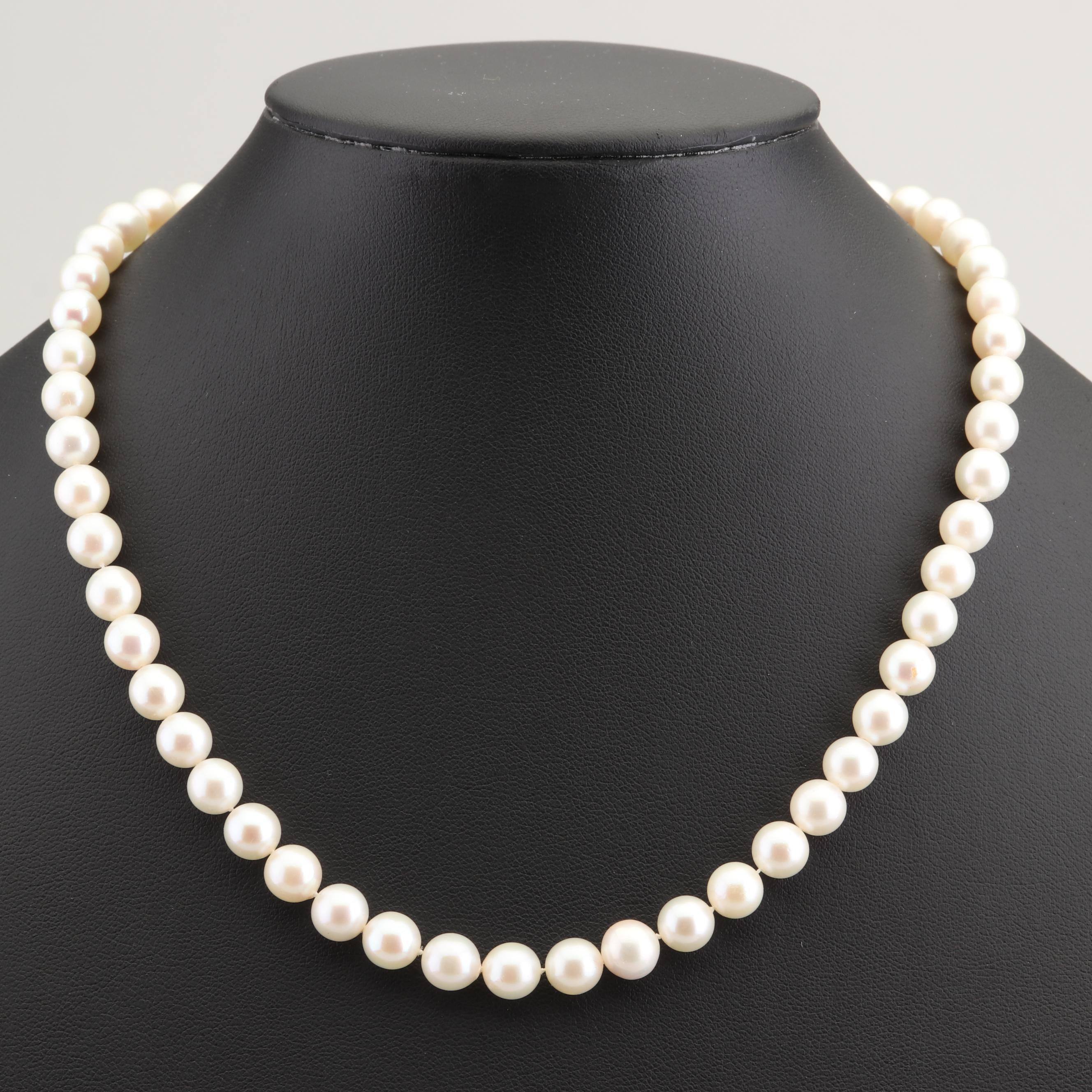Mikimoto Cultured Pearl Necklace with 14K Yellow Gold Clasp