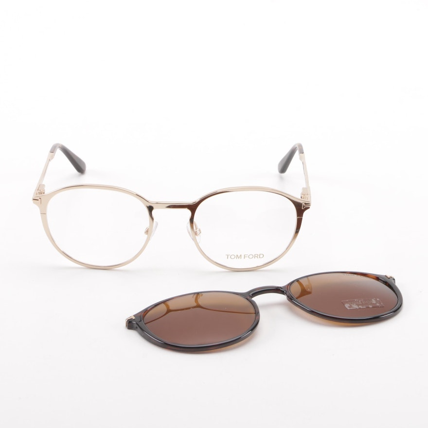 3382c29eb843 Tom Ford TF5476 Eyeglasses with Magnetic Clip-On Tinted Lenses   EBTH