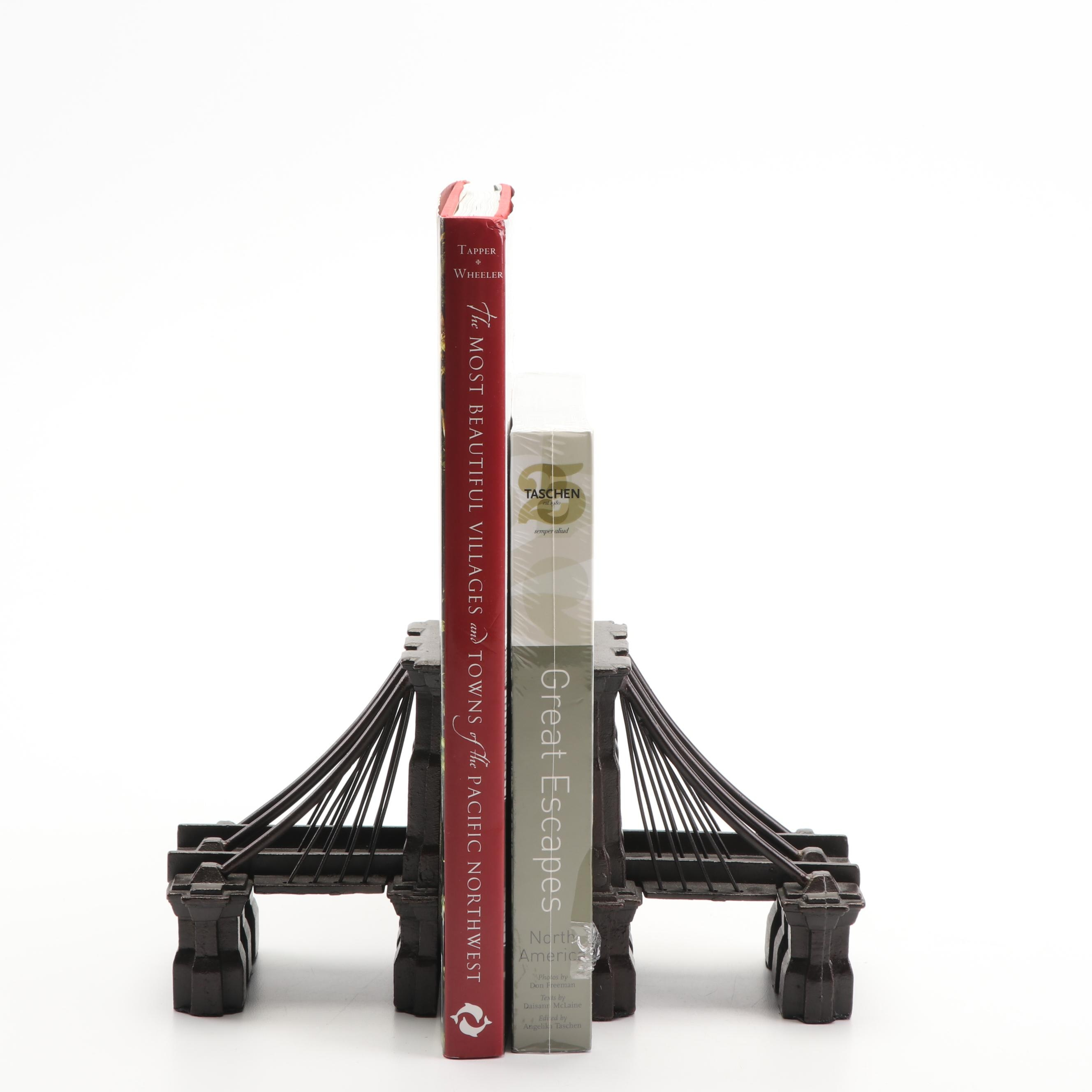 Travel Coffee Table Books with Brooklyn Bridge Bookends