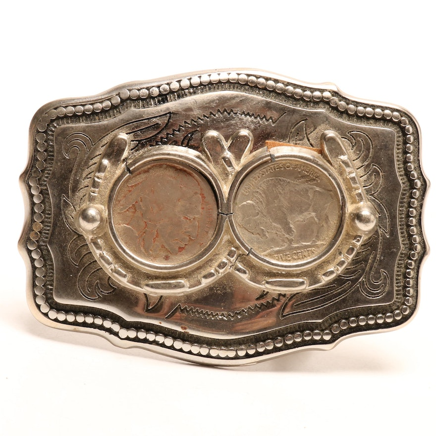 Two Buffalo Nickels Belt Buckle