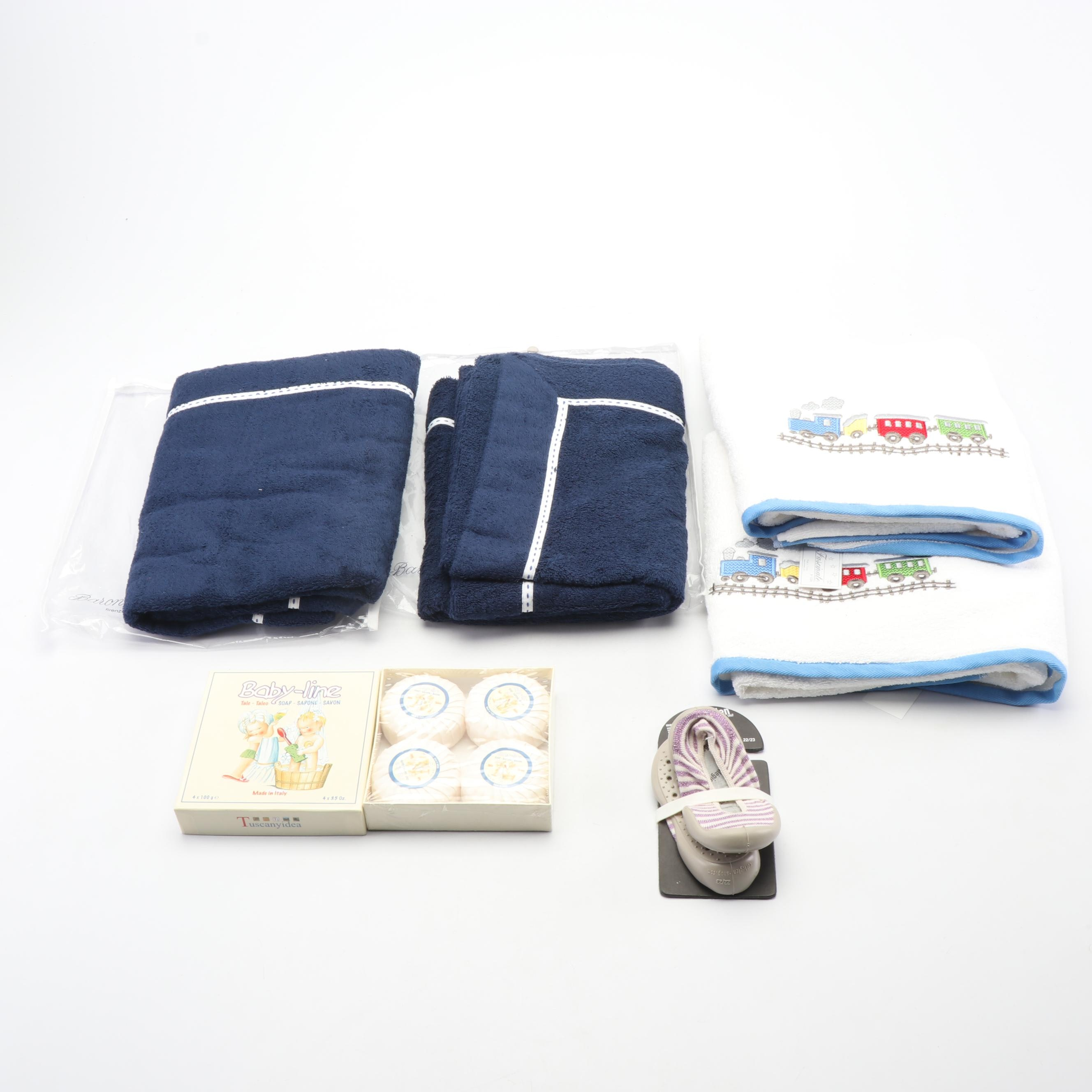 Özer Embroidered Towels, Baby-Line Soap, and Collégien Slippers