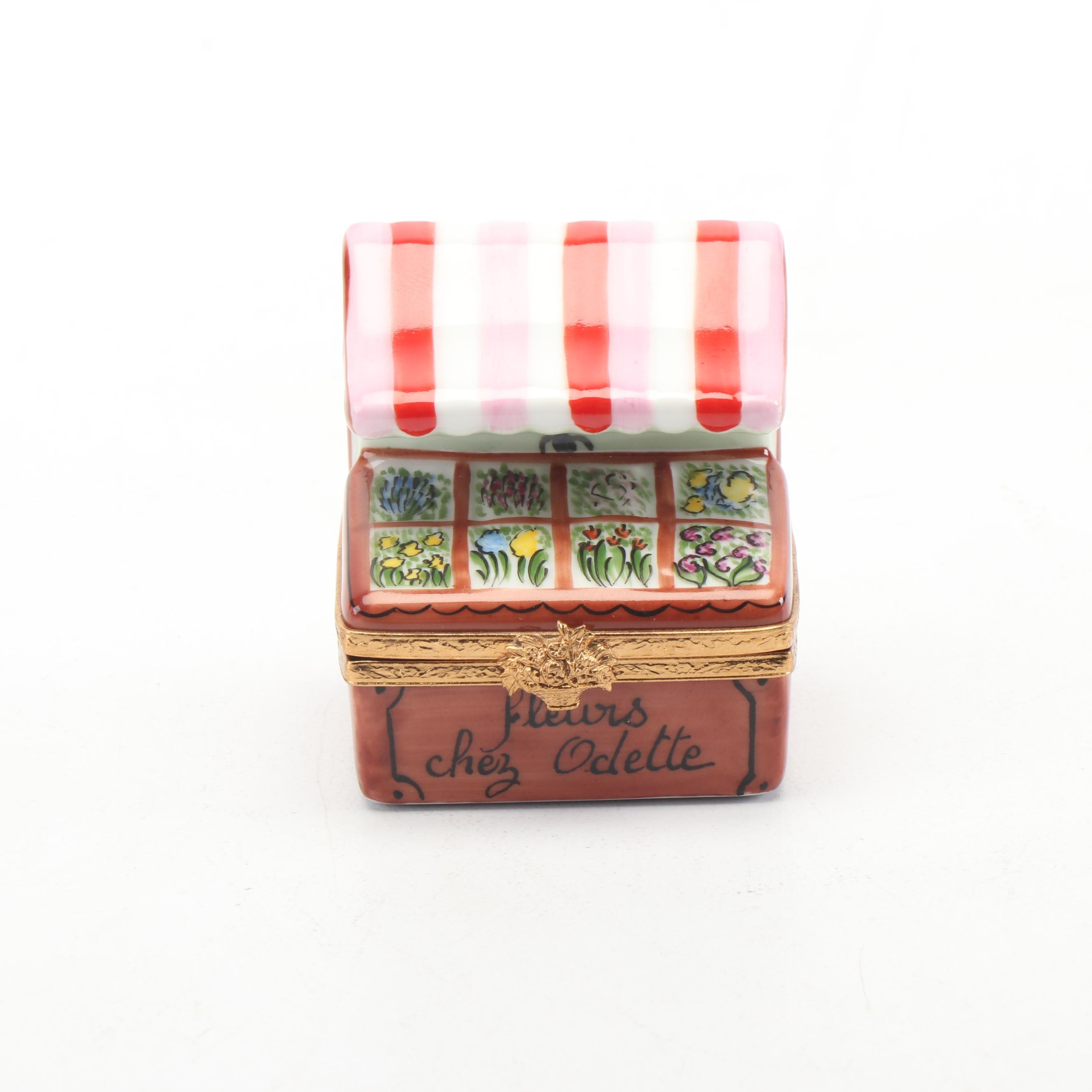 "Artoria Limoges ""Fleurs Chez Odette"" Porcelain Trinket Box"