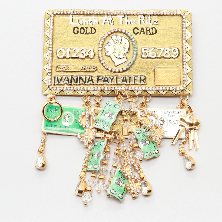 Lunch At The Ritz Gold Tone Gl And Enamel Money Themed Converter Brooch