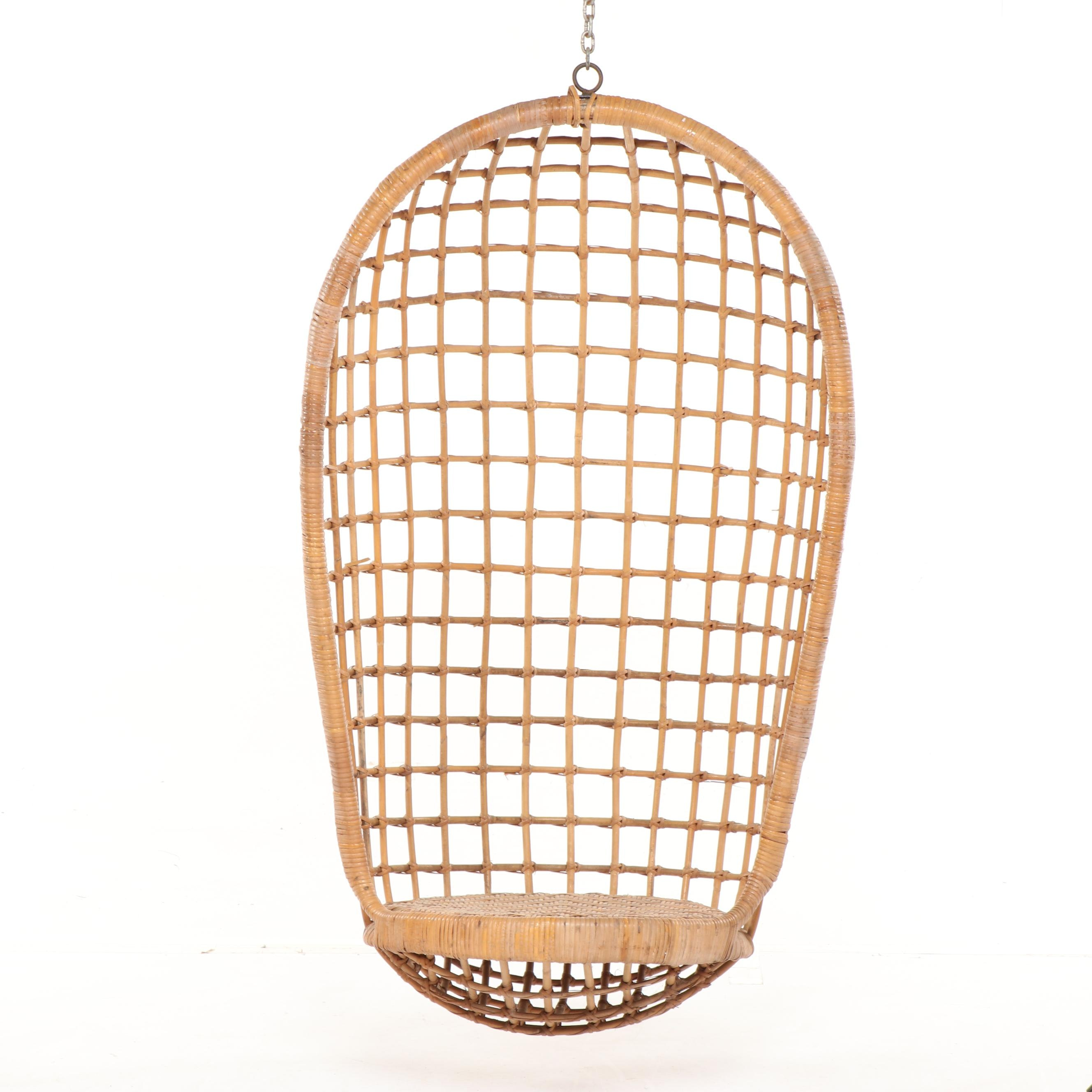 Mid Century Modern Rattan and Wicker Weave Hanging Chair, Mid-20th Century