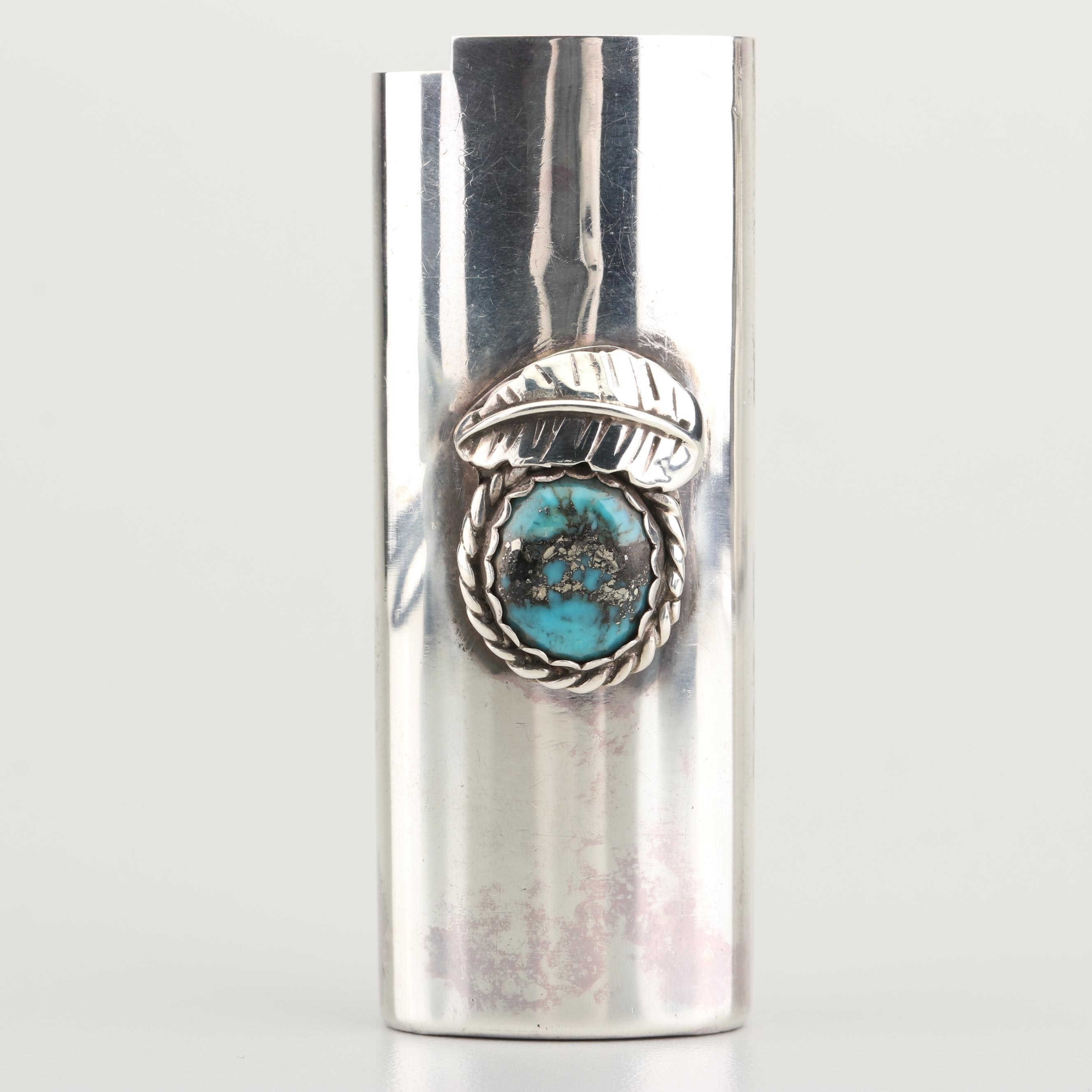 Sterling Silver Pyrite in Turquoise Lighter Case