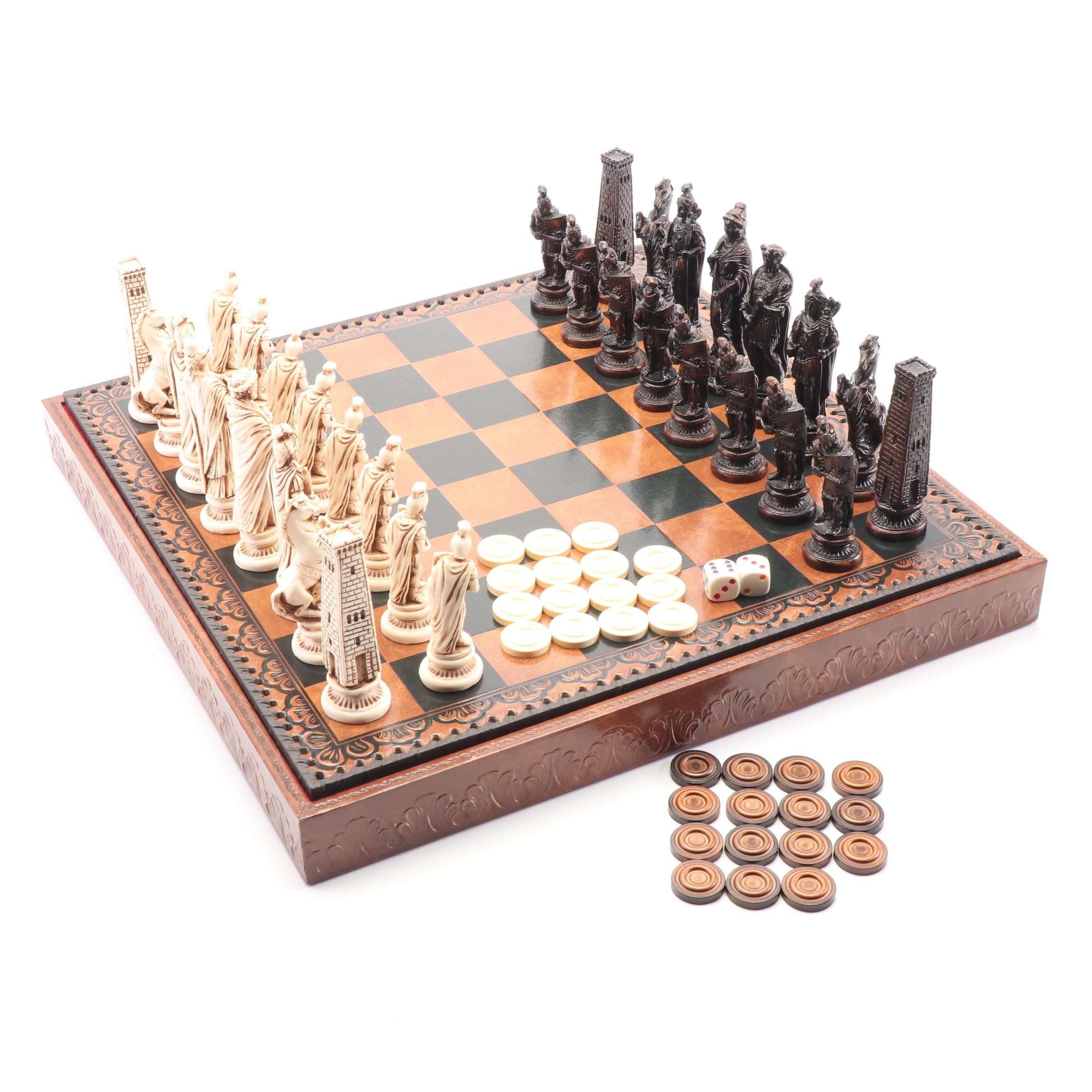 Reversible Leather Topped Chess and Backgammon Set