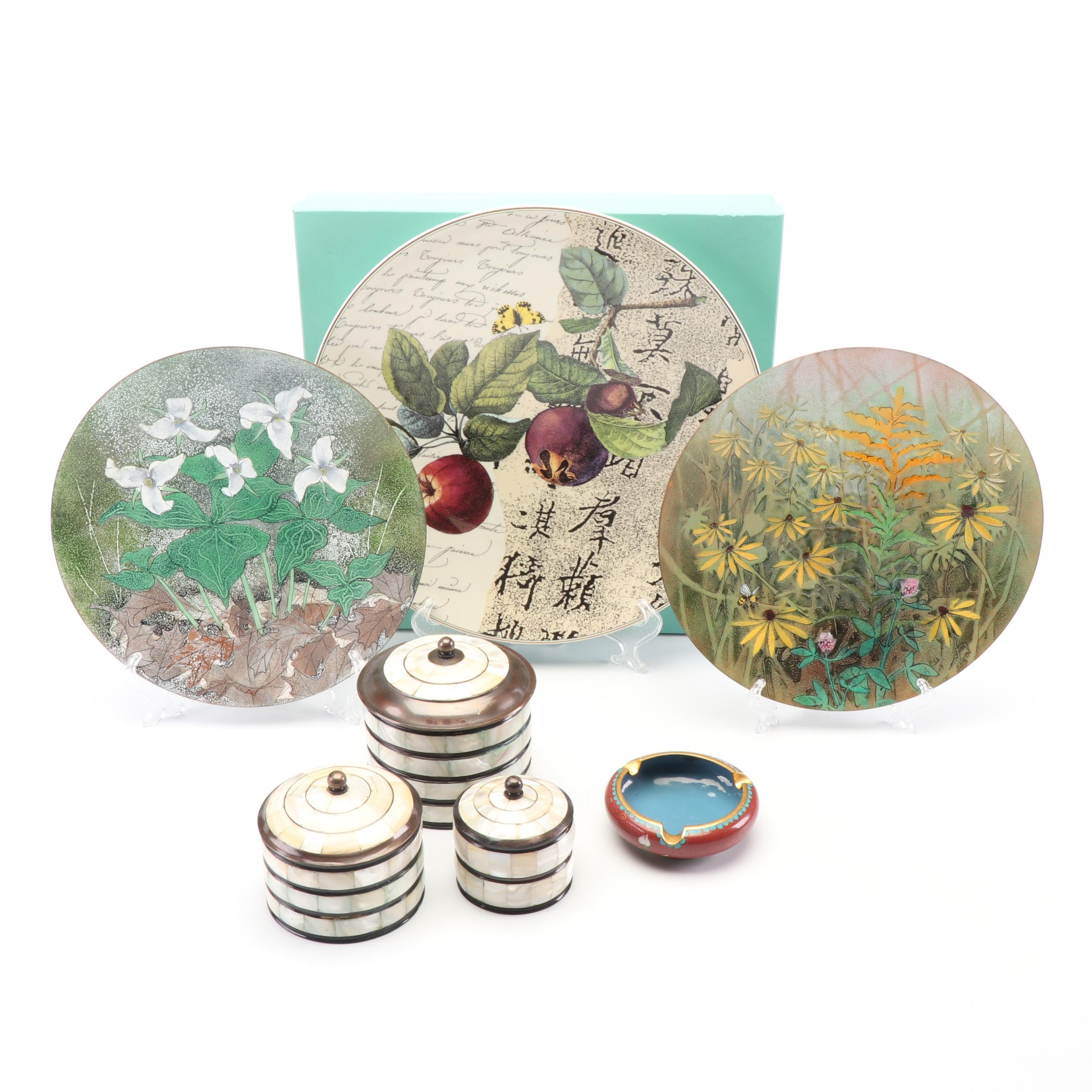 Bernardaud Limoges Plate, Cloisonné Ash Receiver and Mother of Pearl Canisters