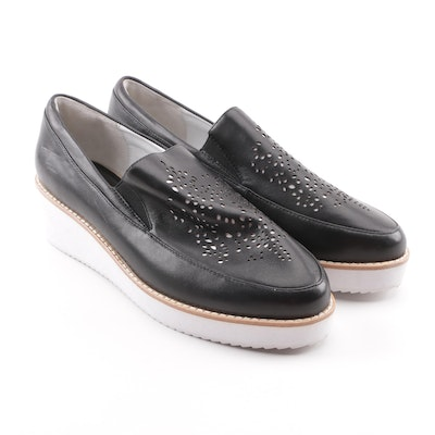 1a7313b75cc6 Anne Fontaine Frenzy Black Leather Laser Cut Slip-On Platform Loafers