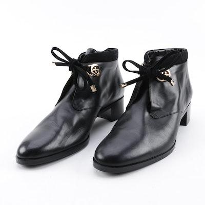 c470129243d0 French Sole New York Black Leather Fleur-de-Lis Accent Booties