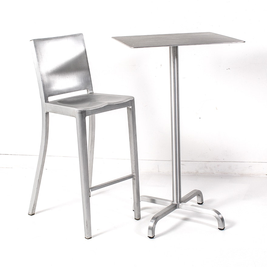 Brushed Aluminum Coffee Table: Emeco Hudson Brushed Aluminum Cocktail Table And Chair : EBTH