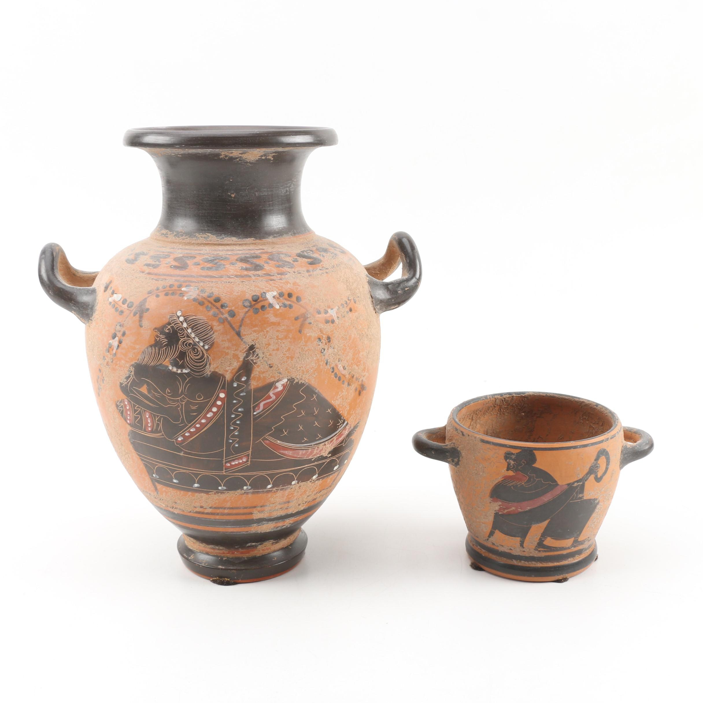 Ancient Greek Reproduction Amphora and Vessel