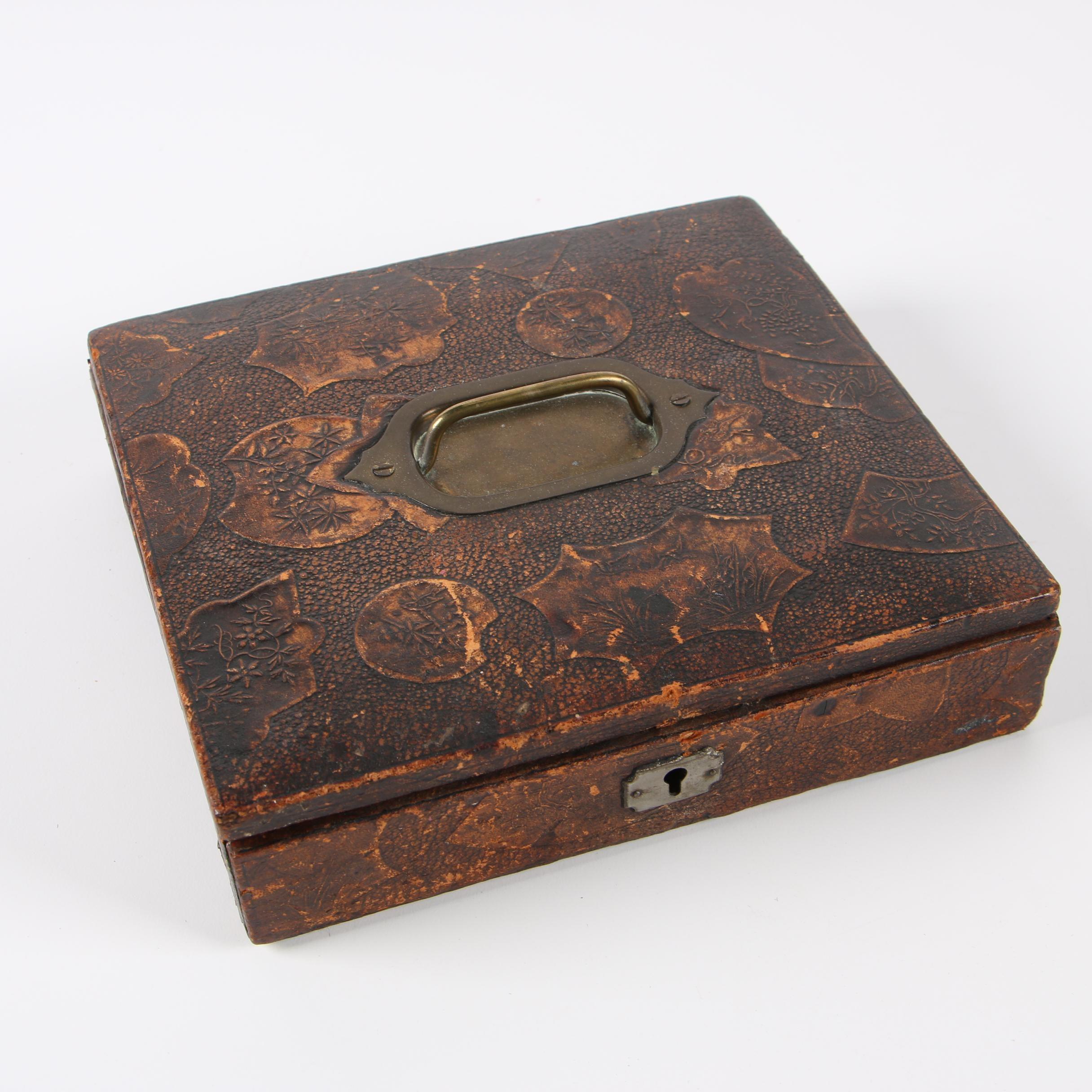Leatherette Bound Lock Box, circa 1900