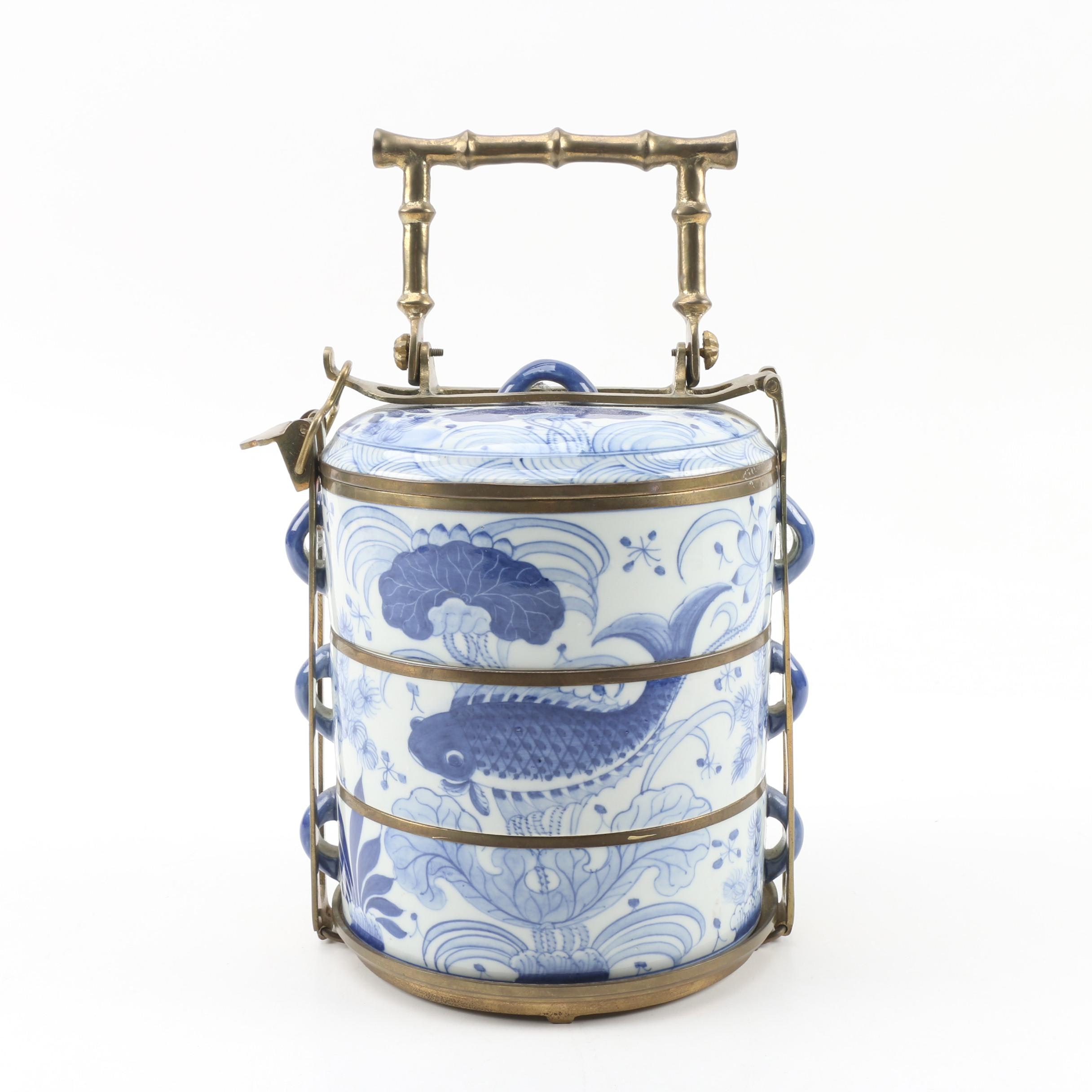 Chinese Tiered Porcelain Tiffin Box with Brass Carrier