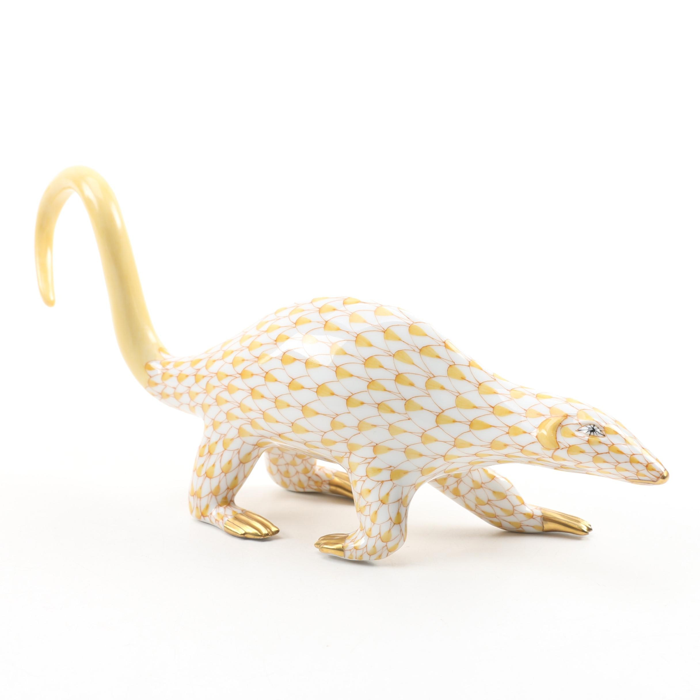 "Herend Butterscotch Fishnet ""Lesser Anteater"" Hand-Painted Porcelain Figurine"