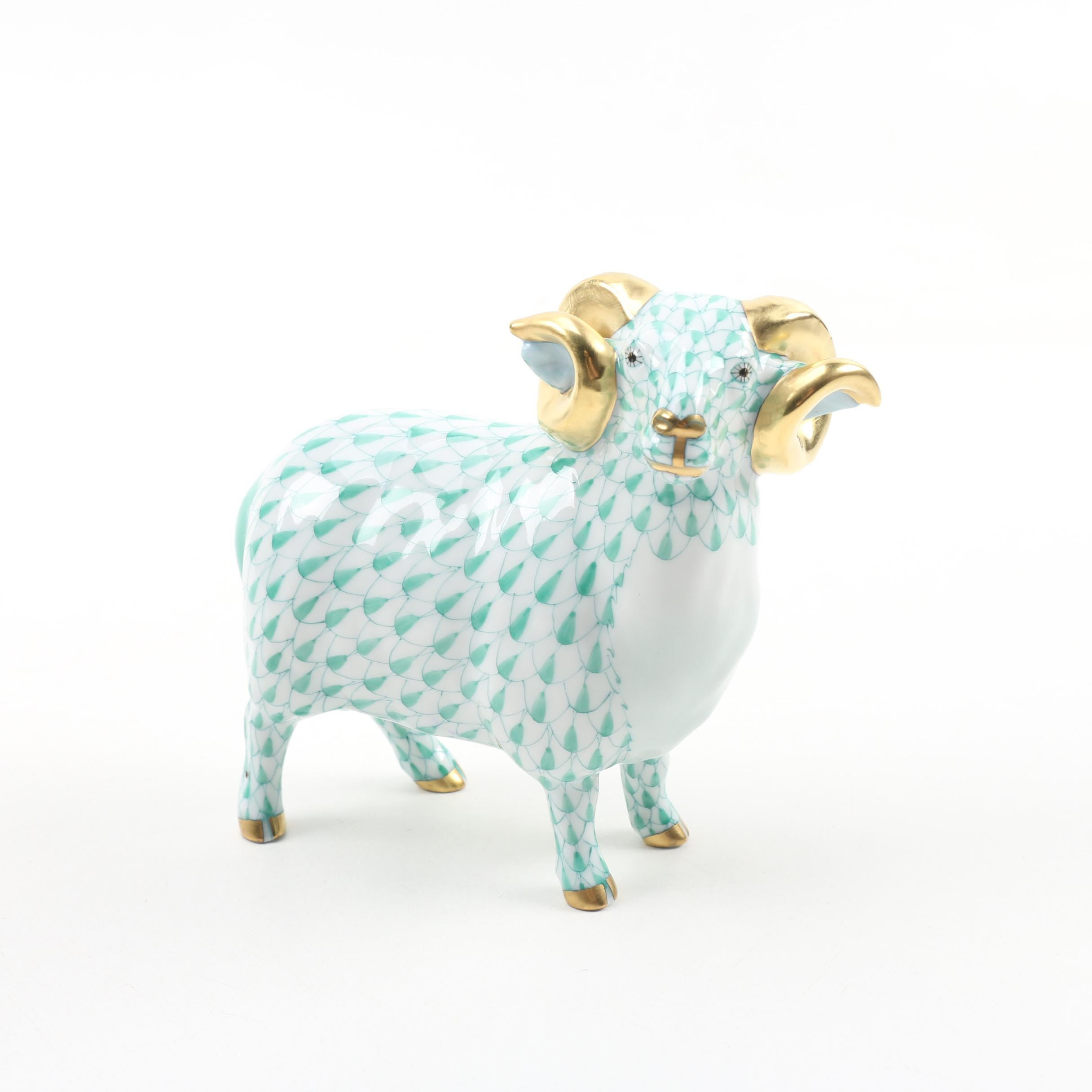 "Herend Green Fishnet ""English Ram"" Porcelain Figurine"