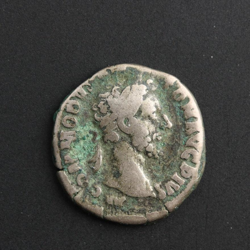 Ancient Roman Imperial AR Denarius of Commodus, ca. 177 A.D.