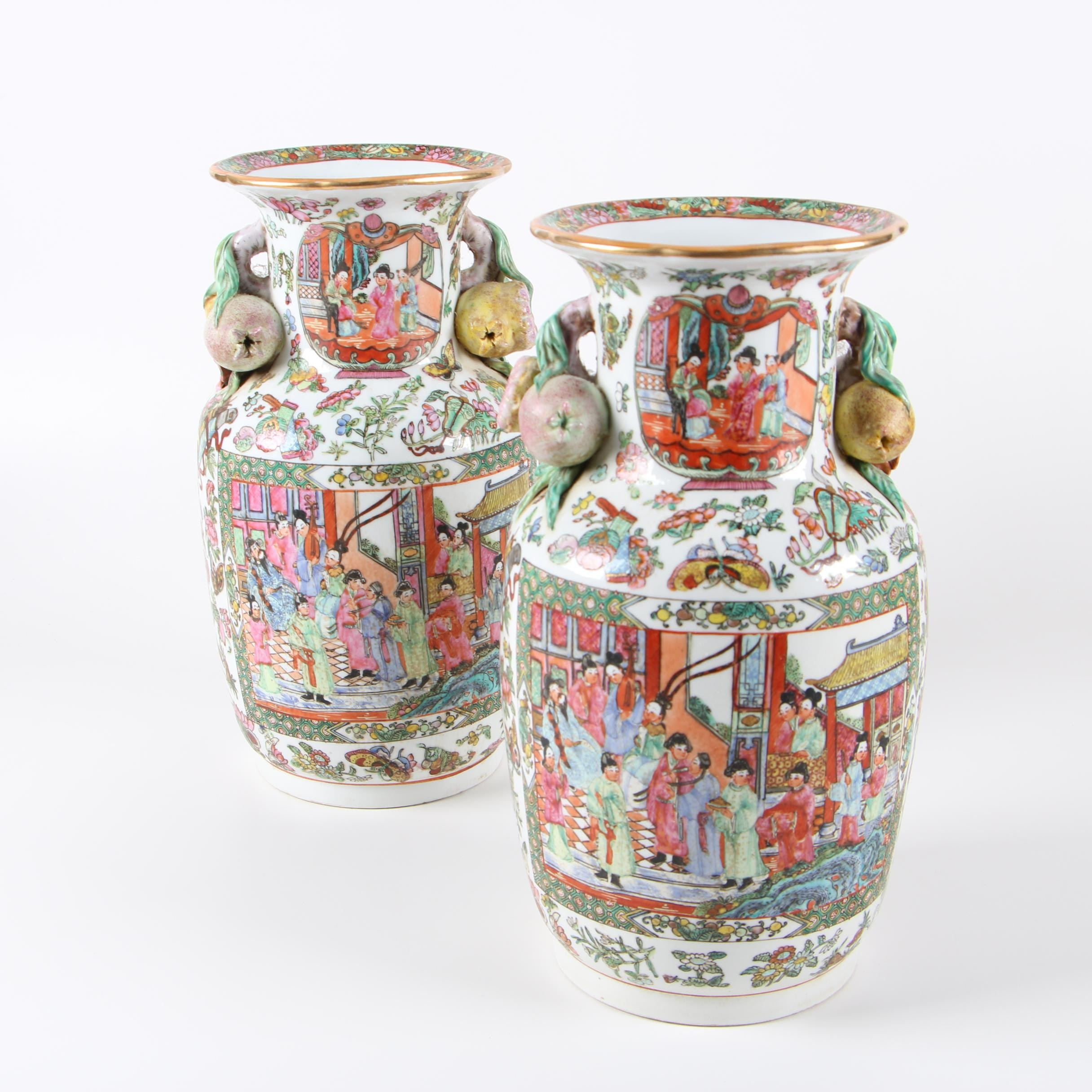 Chinese Rose Medallion Porcelain Vases with Peach Handles