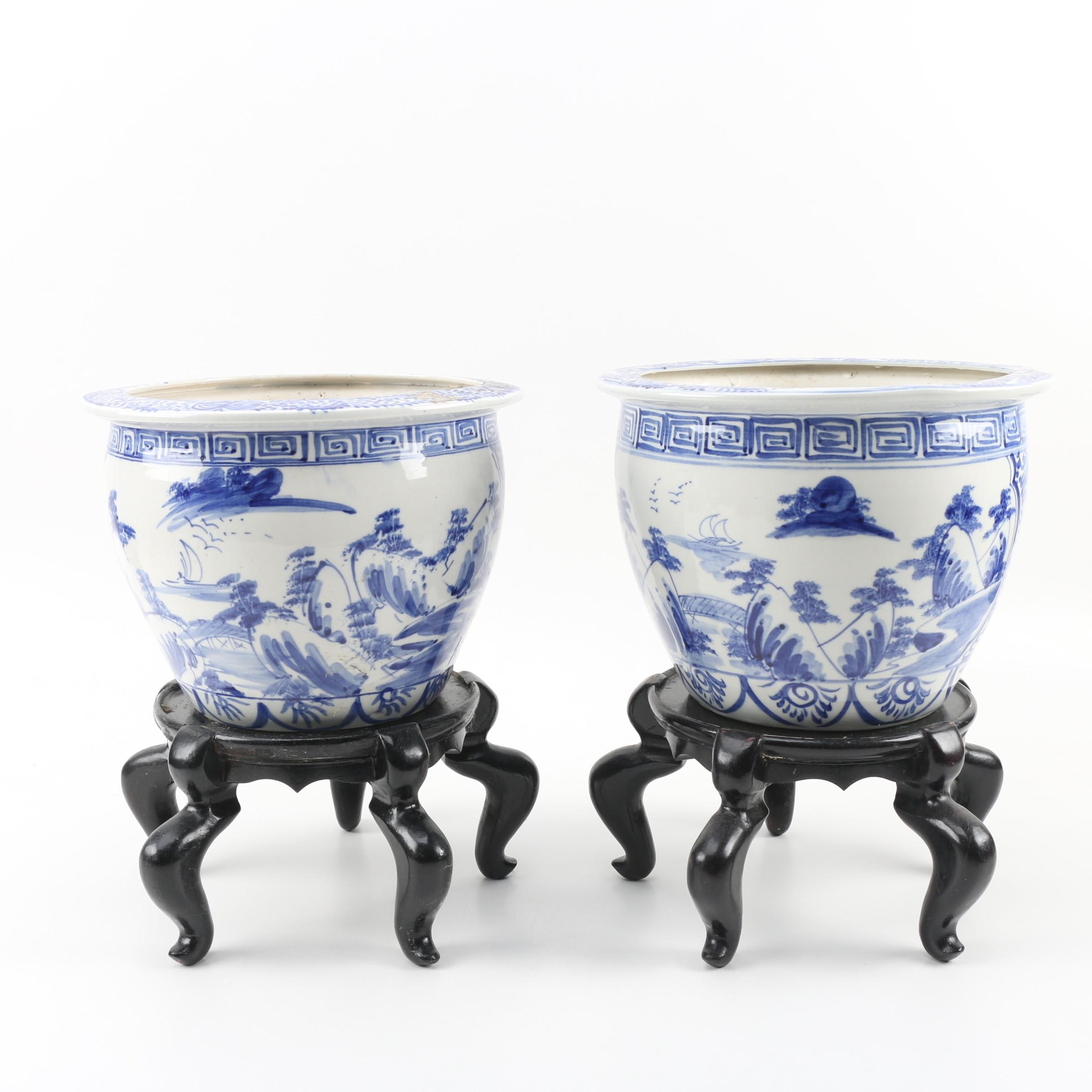 Chinese Porcelain Fish Bowl Planters with Wood Stands