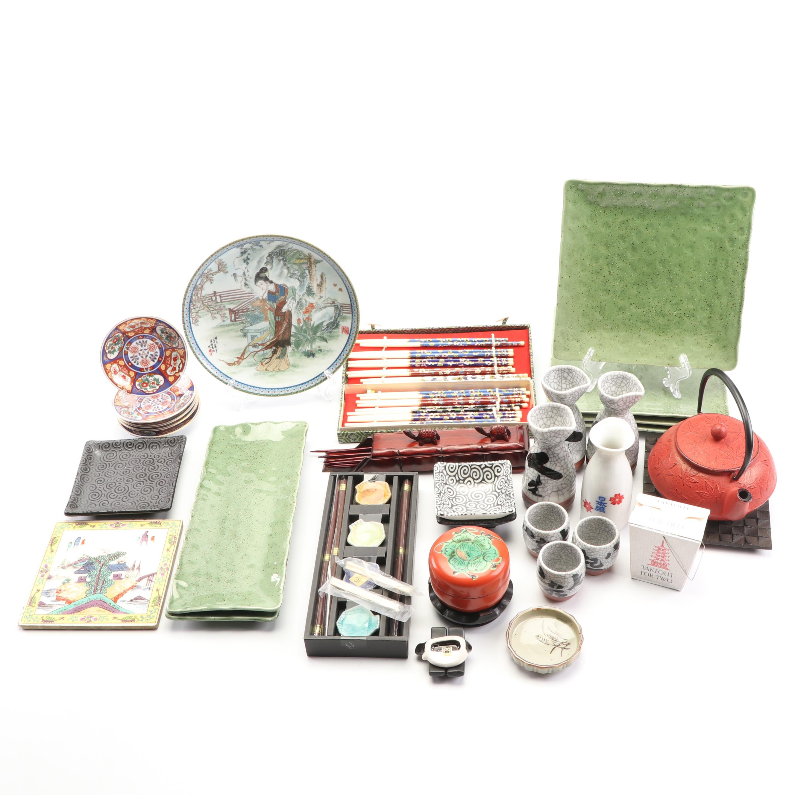 Chinese and Japanese Dinnerware including Chopsticks and Cast Iron Tea Kettle