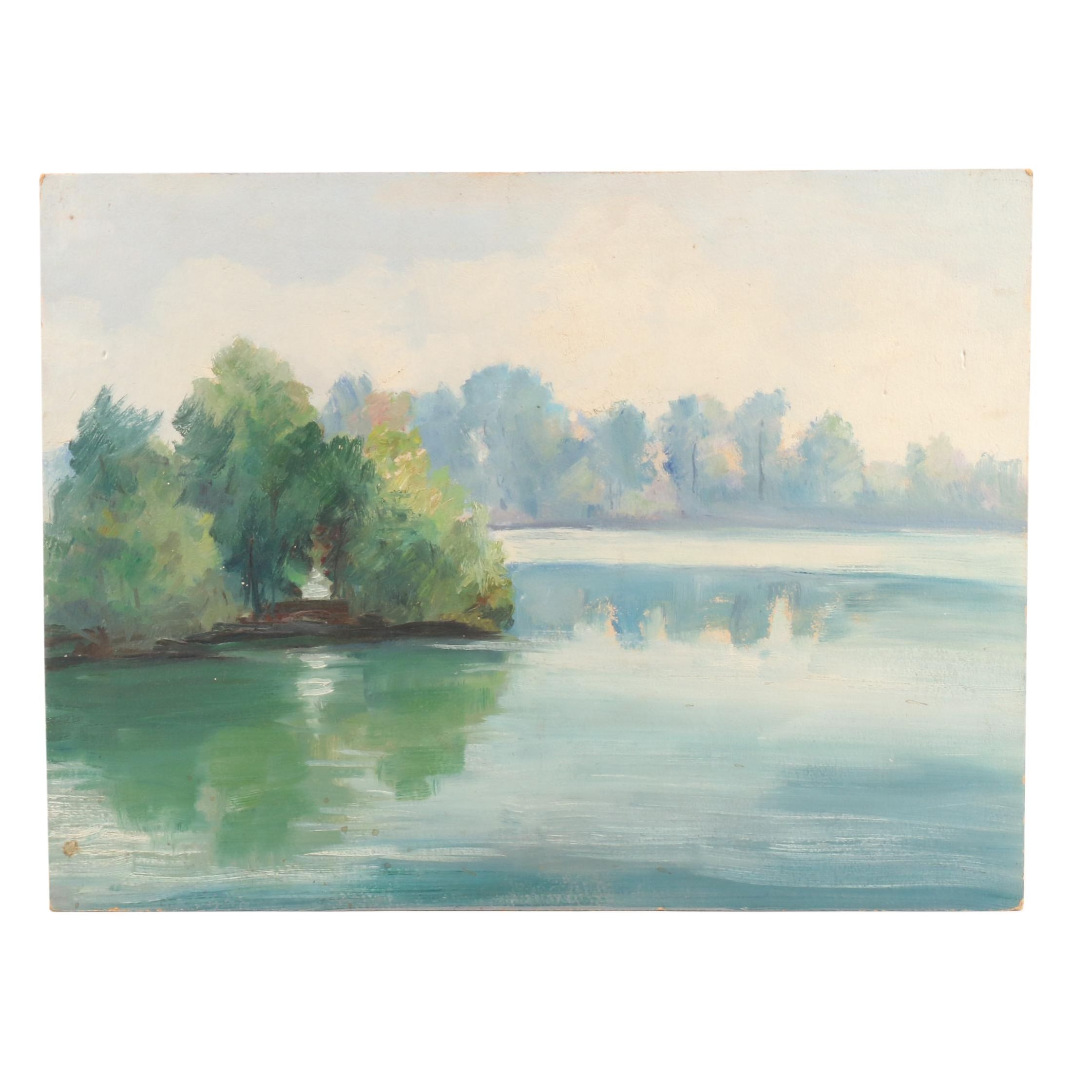 Vintage Landscape Oil Painting of Lake Scene
