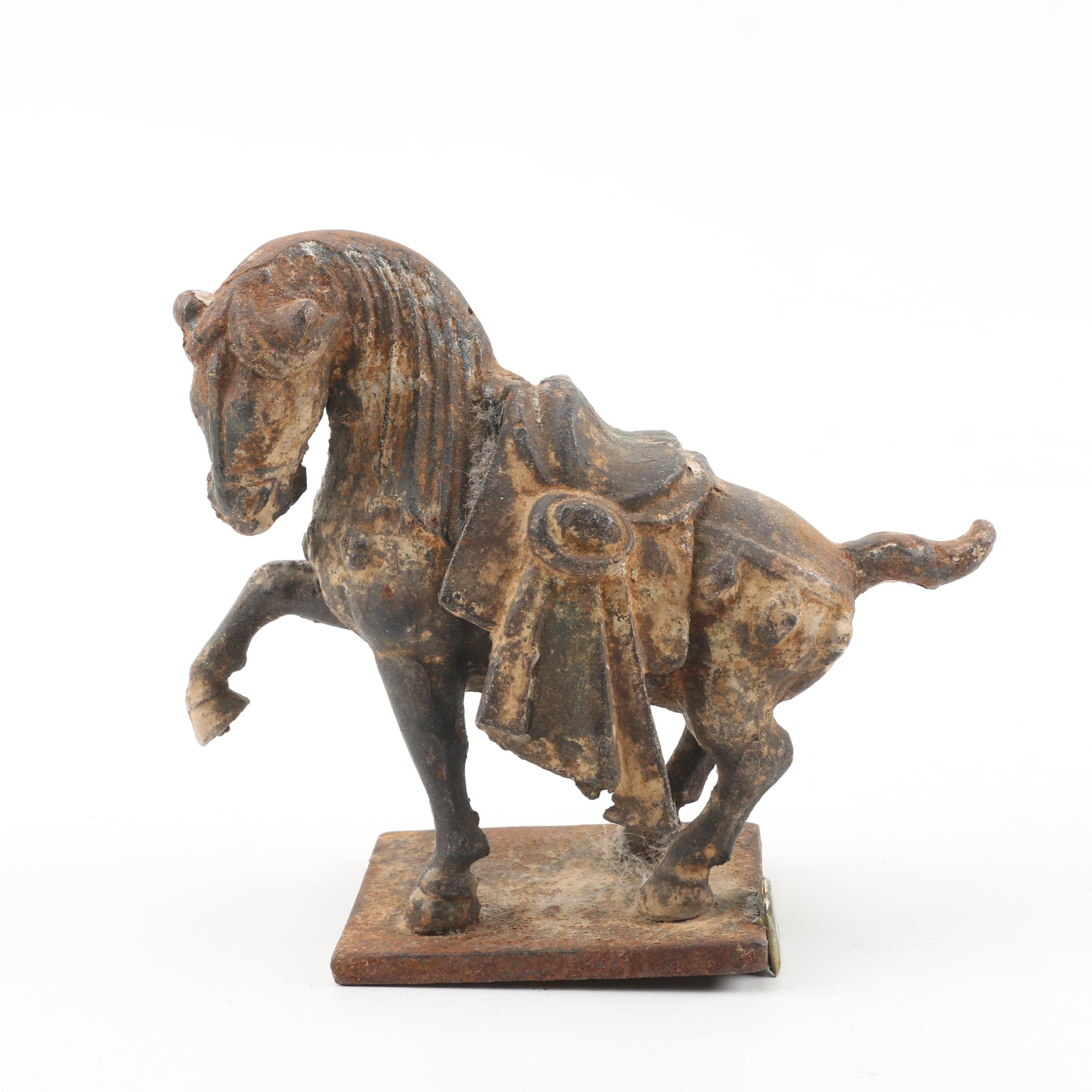 Chinese Tang Style Cast Iron Horse Sculpture