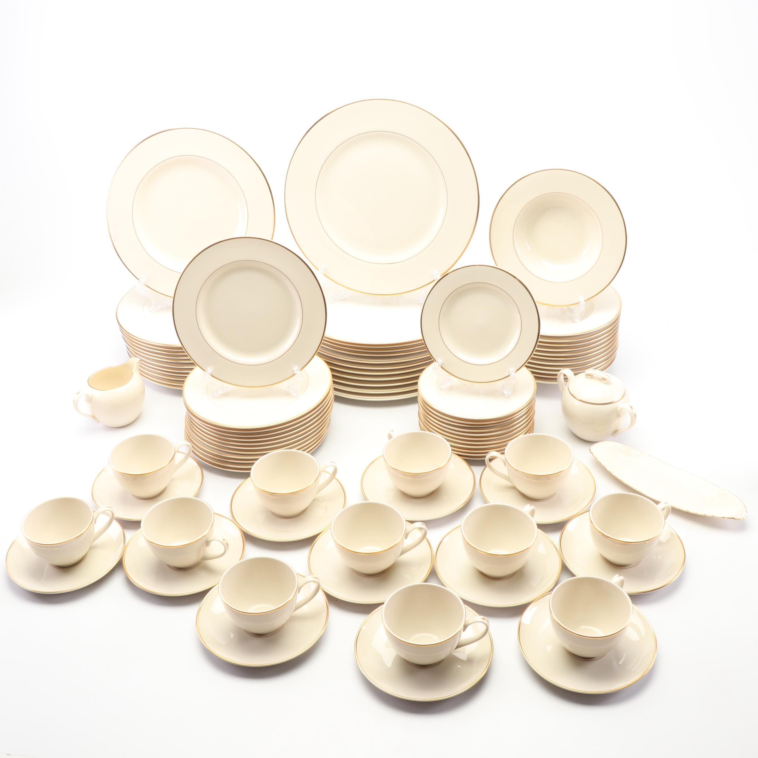"Pickard Gilt Trimmed Bone China Dinnerware and Lenox ""Olympia"" Serveware"