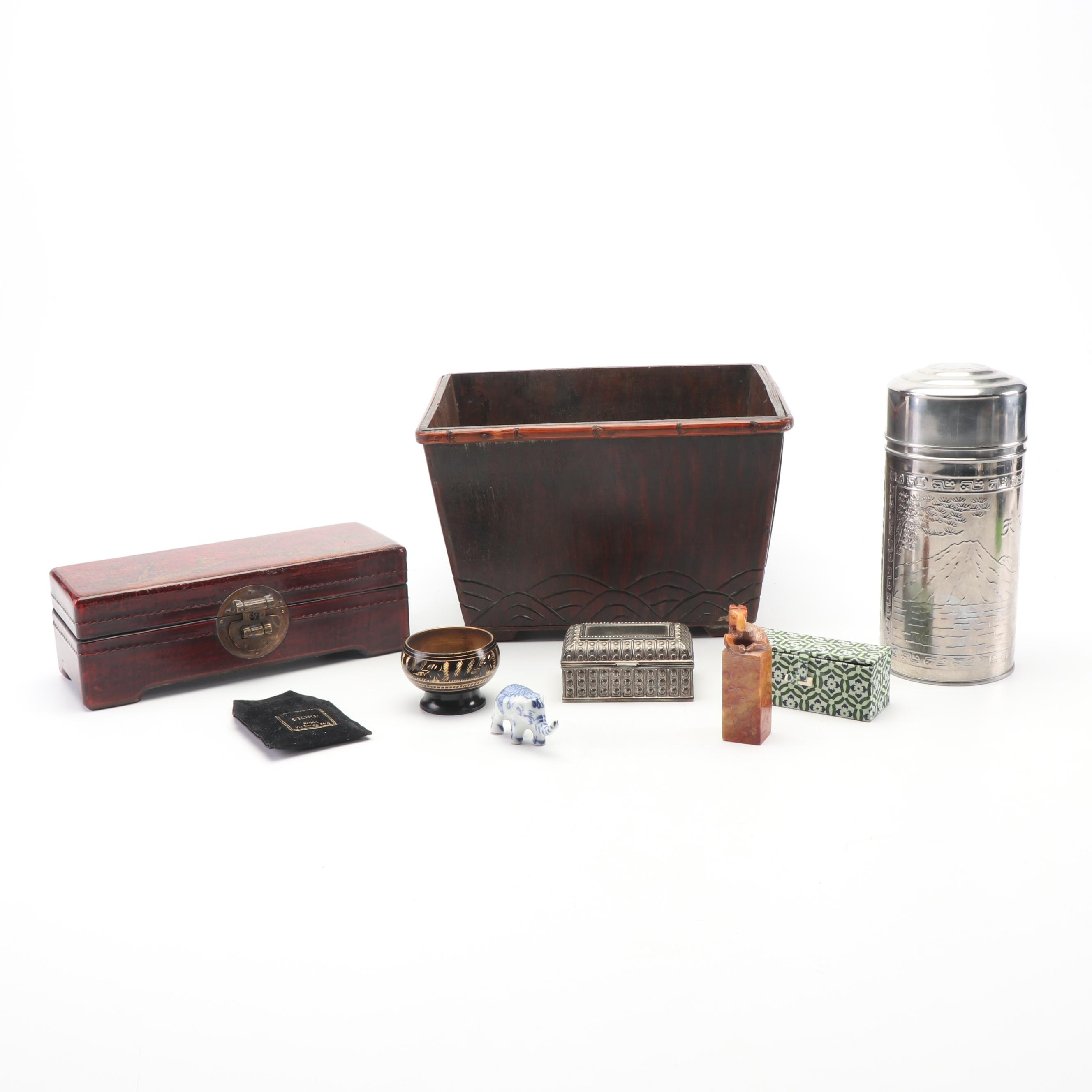 Chinese Stone Seal Stamp and Stainless Steel Tea Caddy with Trinket Boxes
