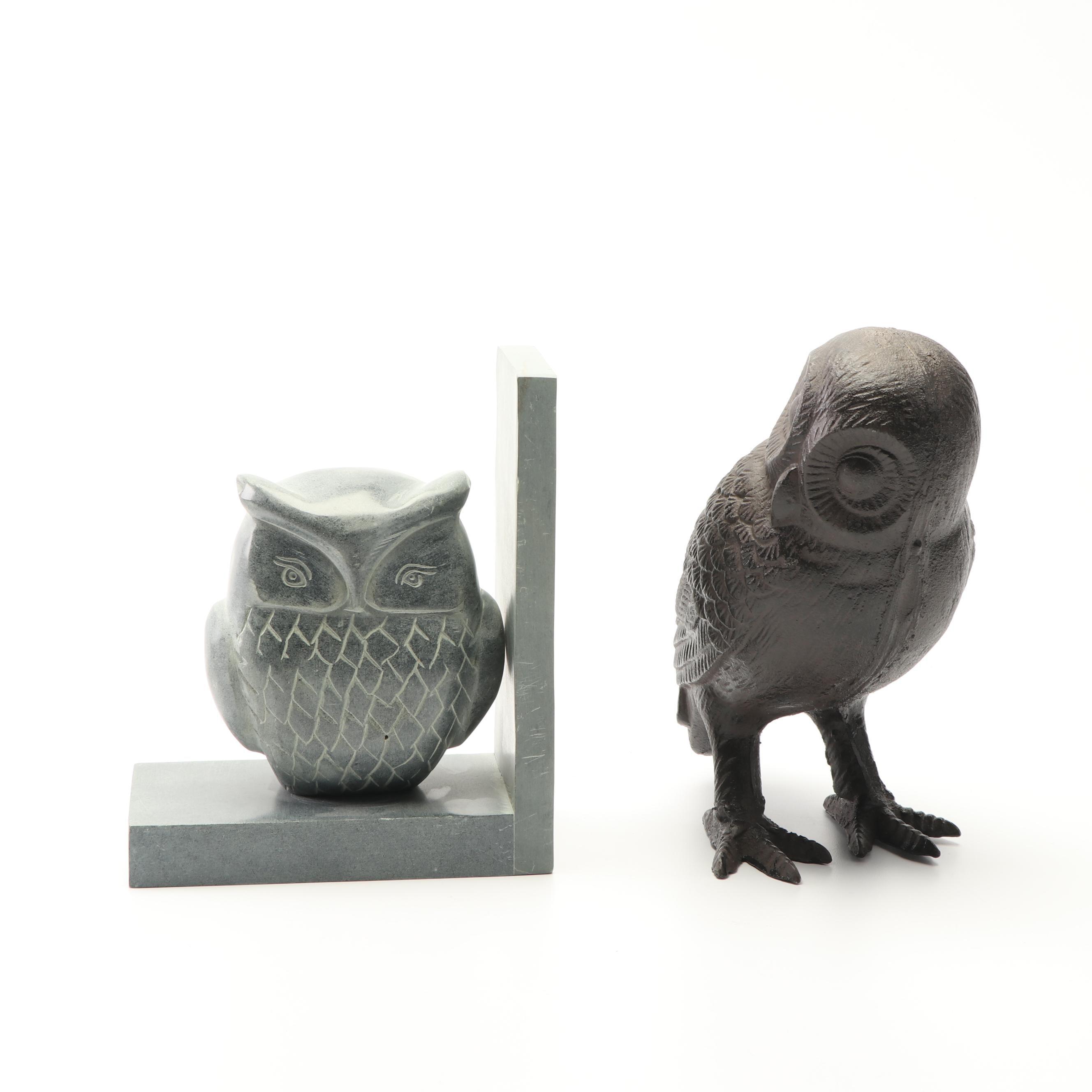 Soapstone Owl Bookend and Cast Iron Owl Figurine