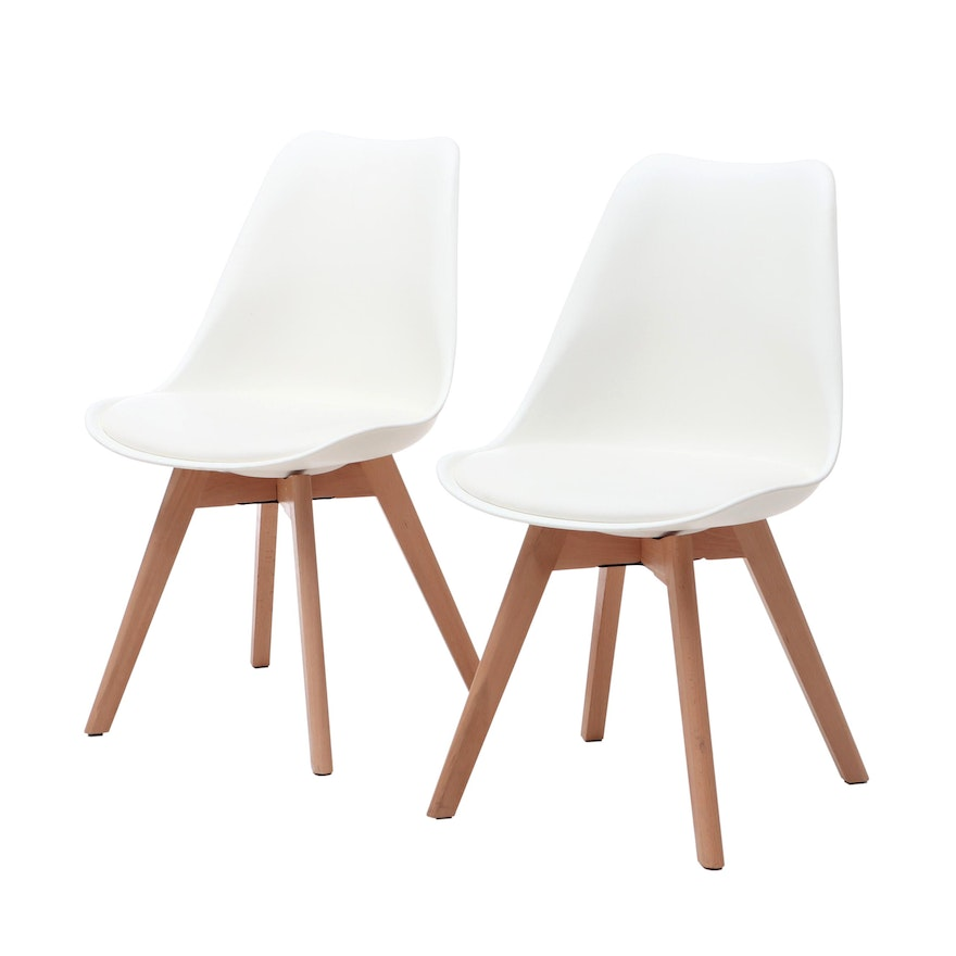 Mid Century Modern Style Wade Logan Dakota Chairs In White