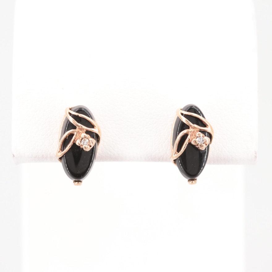 10k And 14k Yellow Gold Diamond Black Onyx Stud Earrings