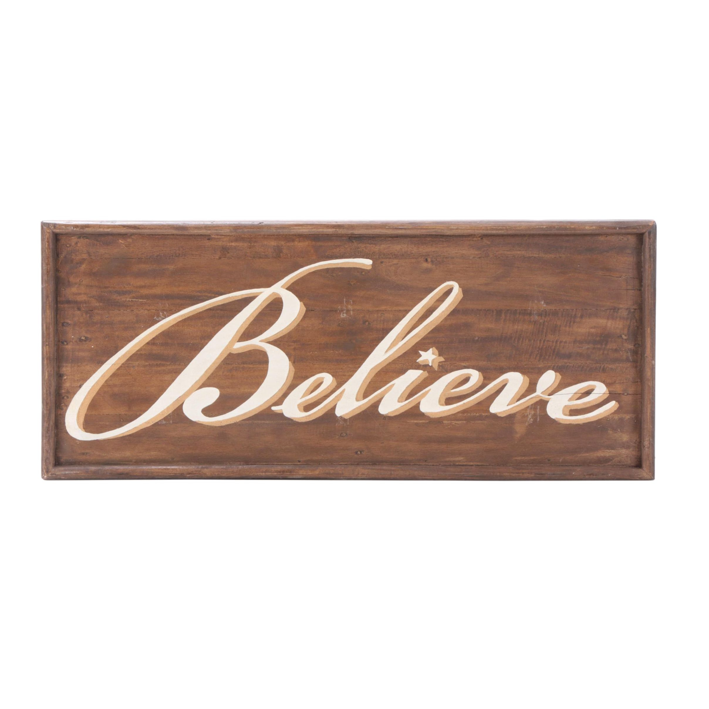 """Farmhouse Style """"Believe"""" Painted Wooden Wall Sign"""