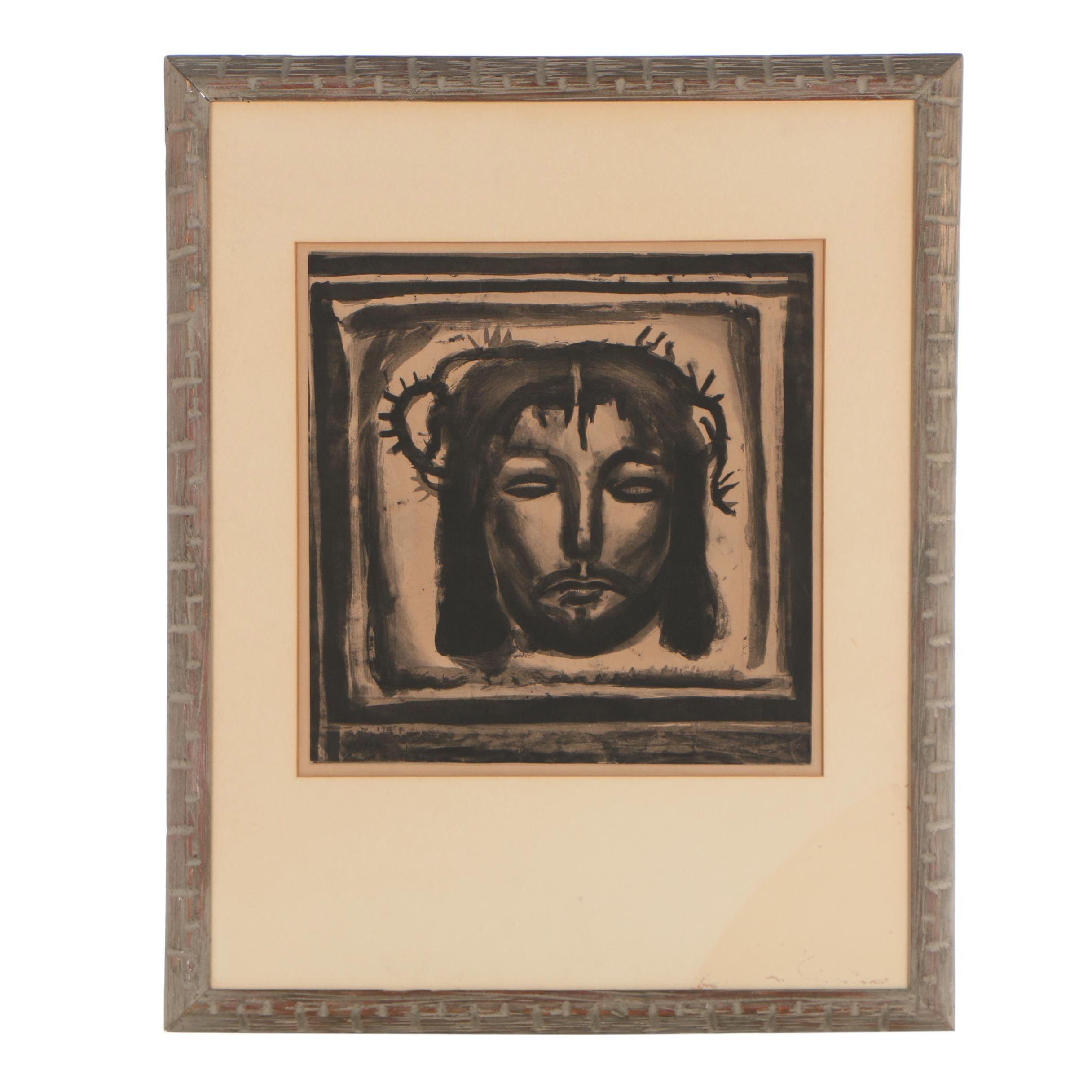 "Georges Rouault Restrike Etching with Aquatint ""Plate 33. Véronique au Tendre"""