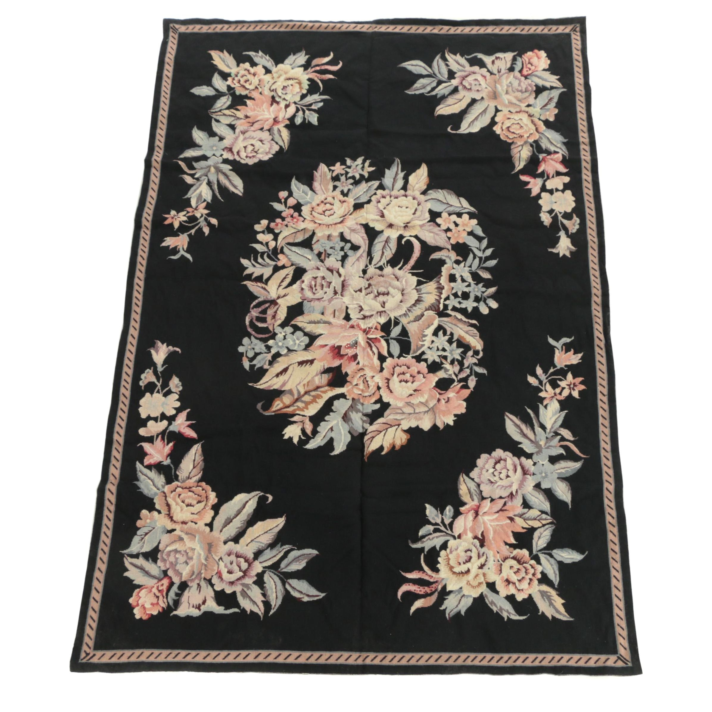 Chinese Needlepoint Floral Bouquet Wool Area Rug