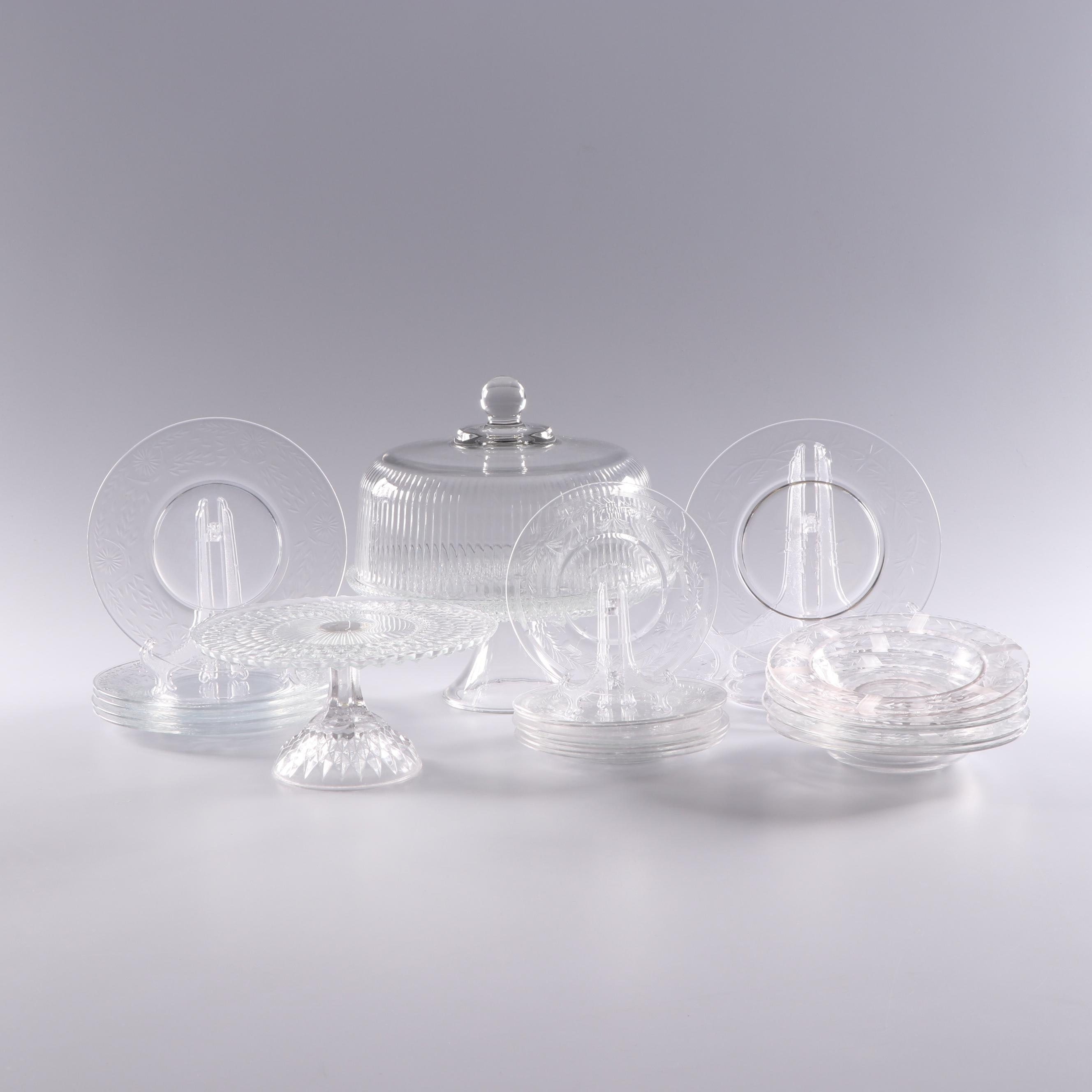 Depression Glass Cake Stands and Other Glass Dinnerware featuring Jeanette
